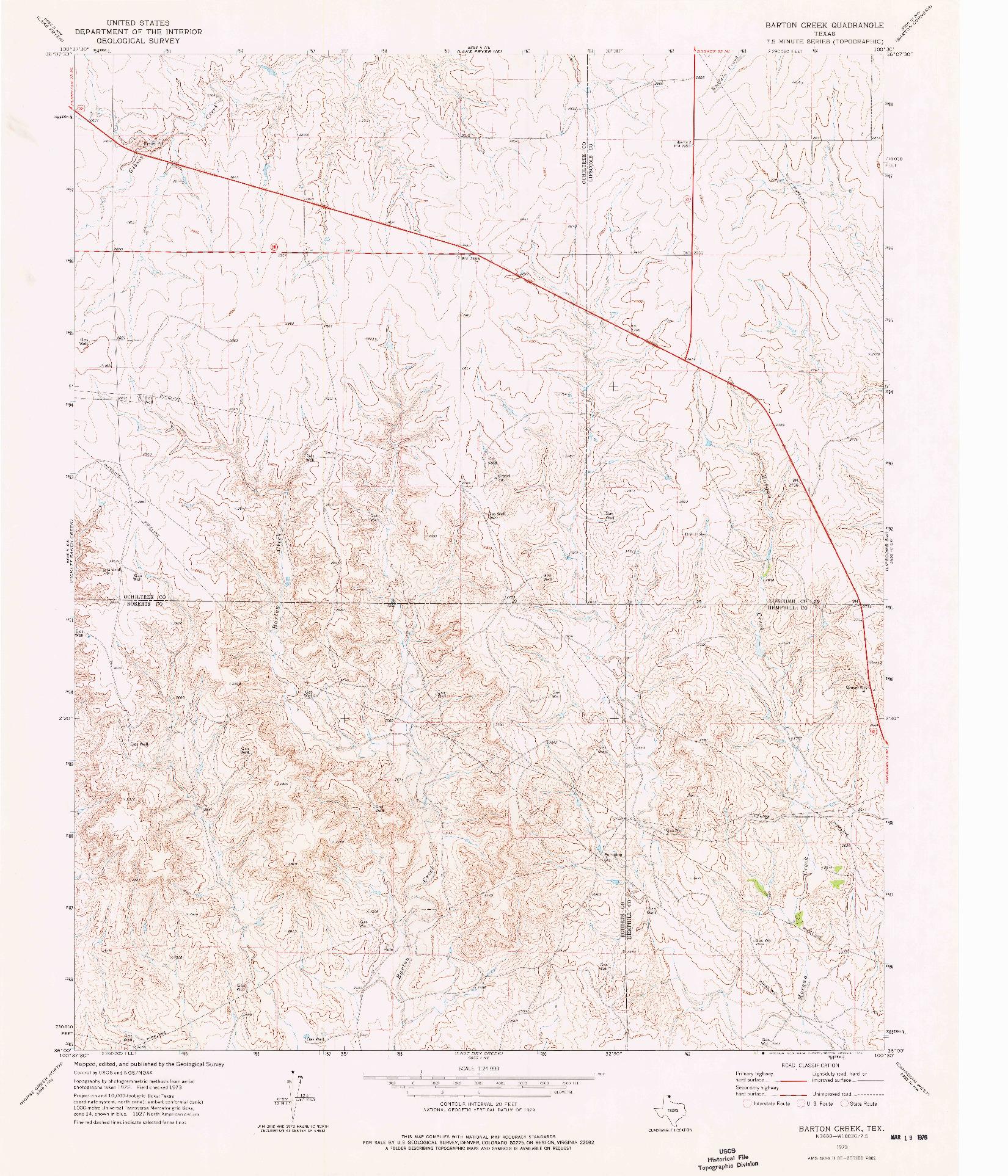 USGS 1:24000-SCALE QUADRANGLE FOR BARTON CREEK, TX 1973