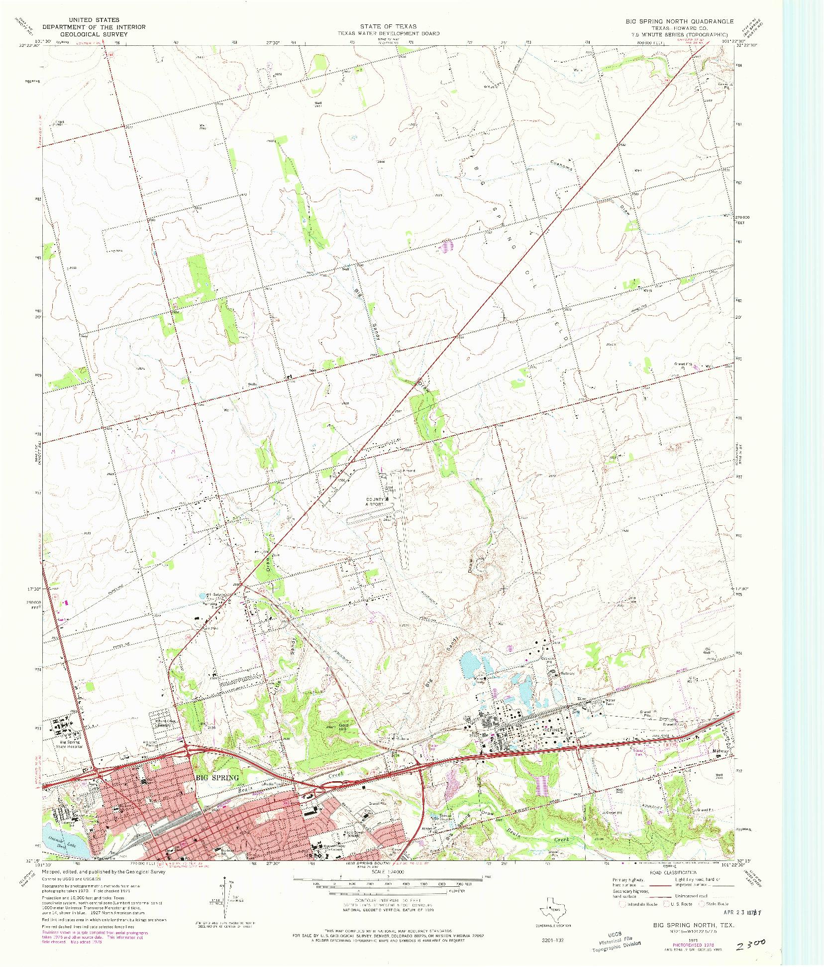 USGS 1:24000-SCALE QUADRANGLE FOR BIG SPRING NORTH, TX 1954