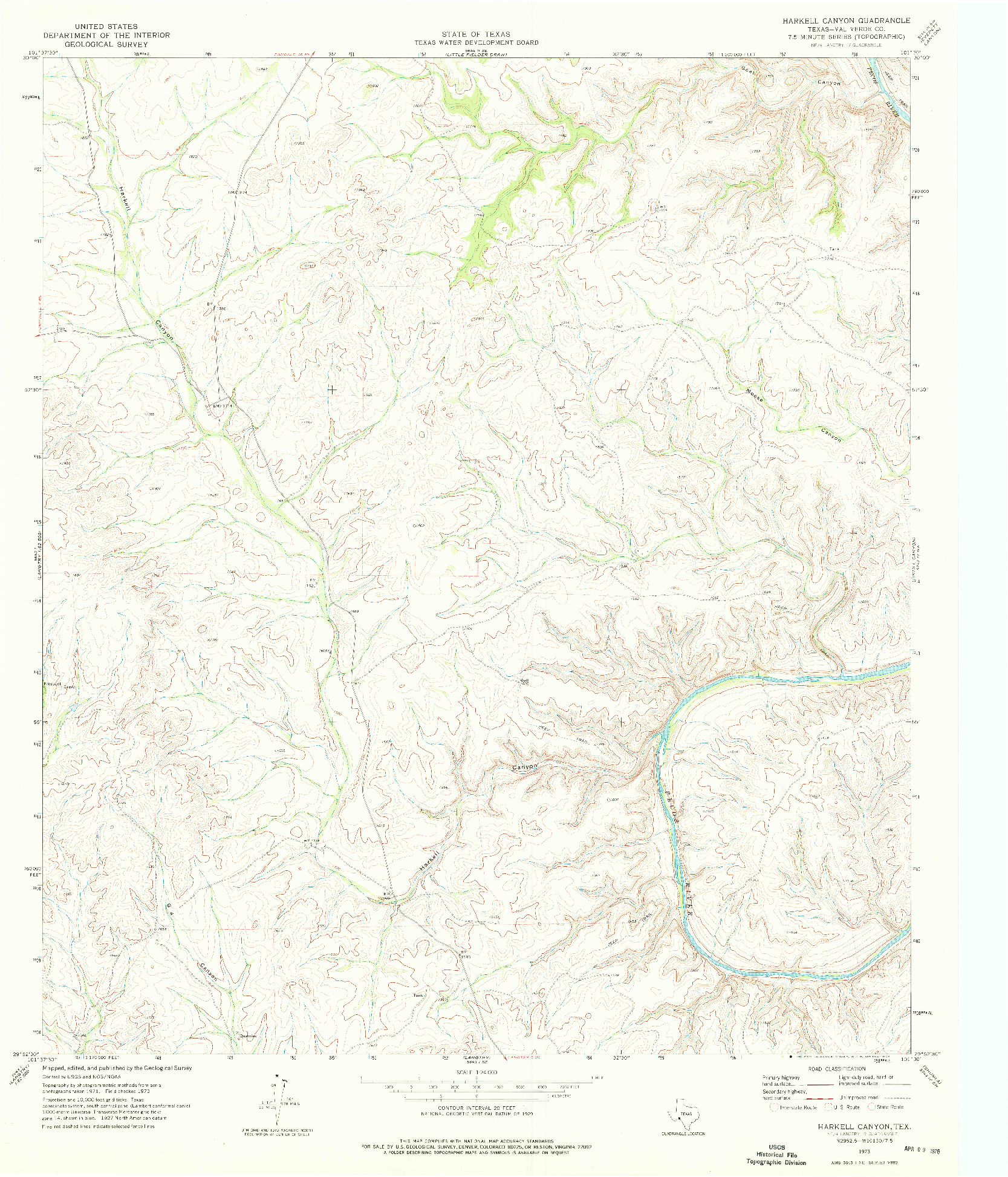 USGS 1:24000-SCALE QUADRANGLE FOR HARKELL CANYON, TX 1973