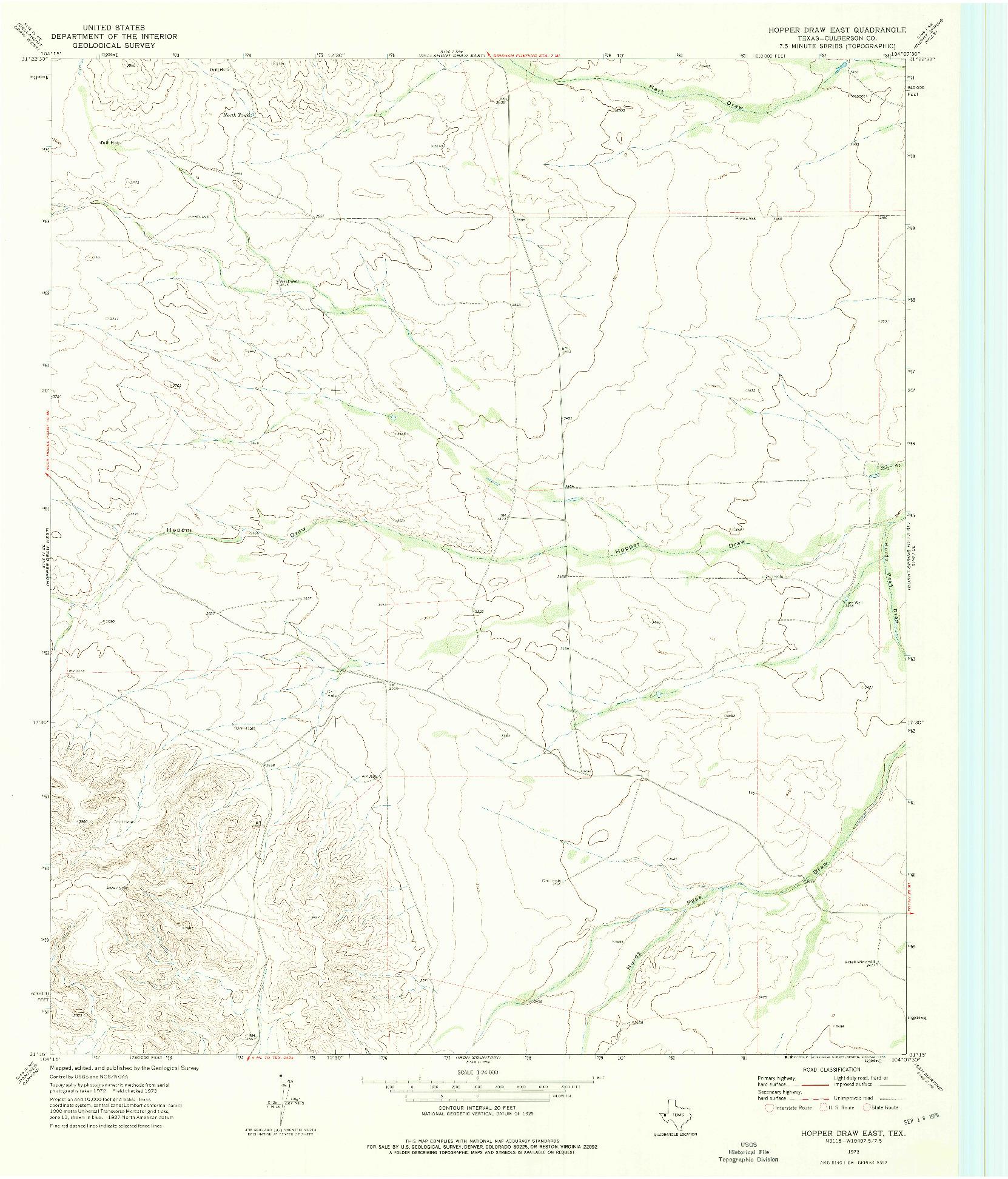 USGS 1:24000-SCALE QUADRANGLE FOR HOPPER DRAW EAST, TX 1973