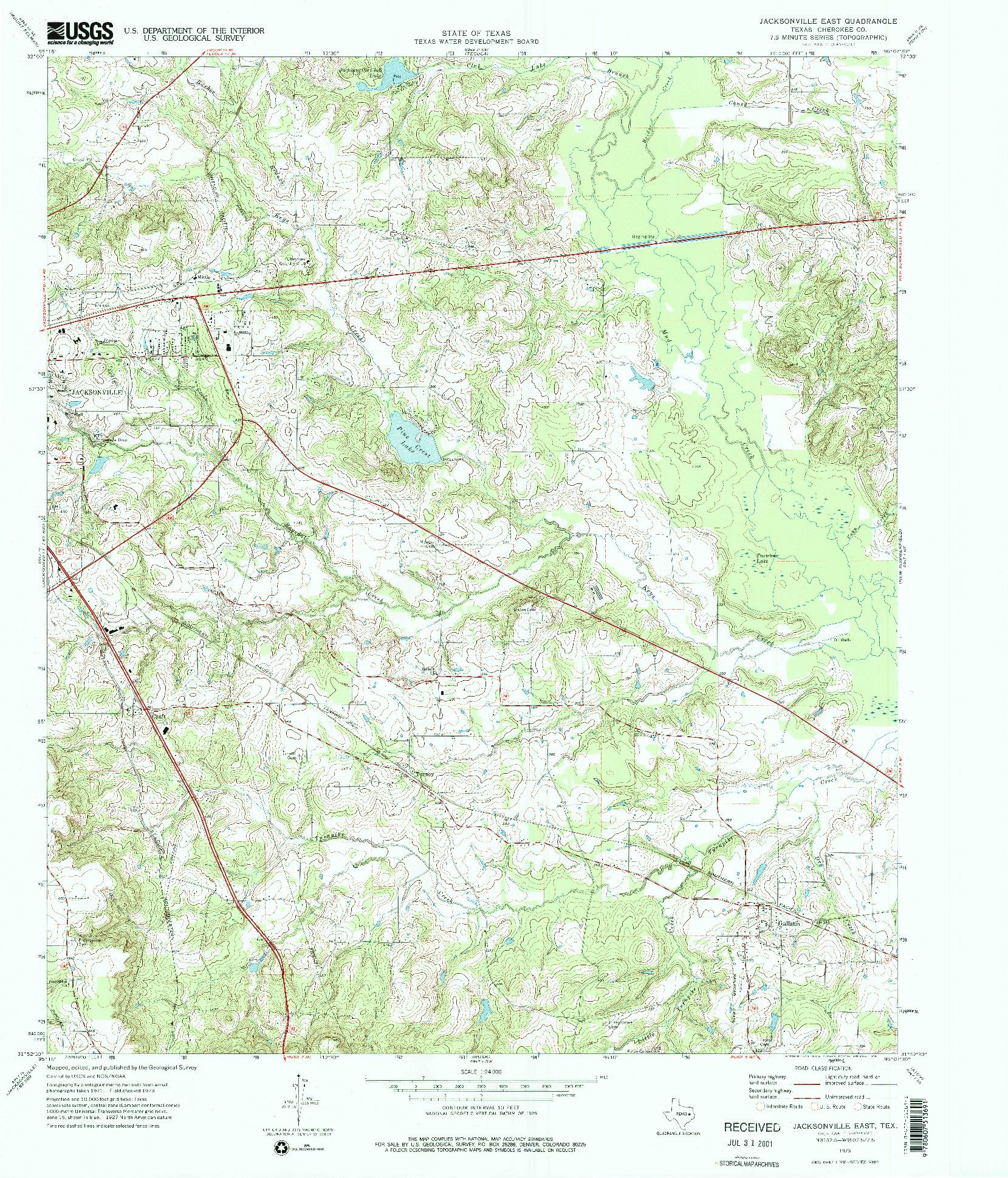 USGS 1:24000-SCALE QUADRANGLE FOR JACKSONVILLE EAST, TX 1973