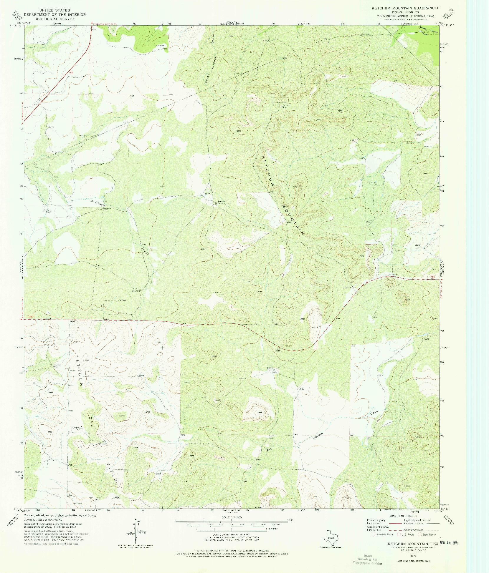 USGS 1:24000-SCALE QUADRANGLE FOR KETCHUM MOUNTAIN, TX 1973