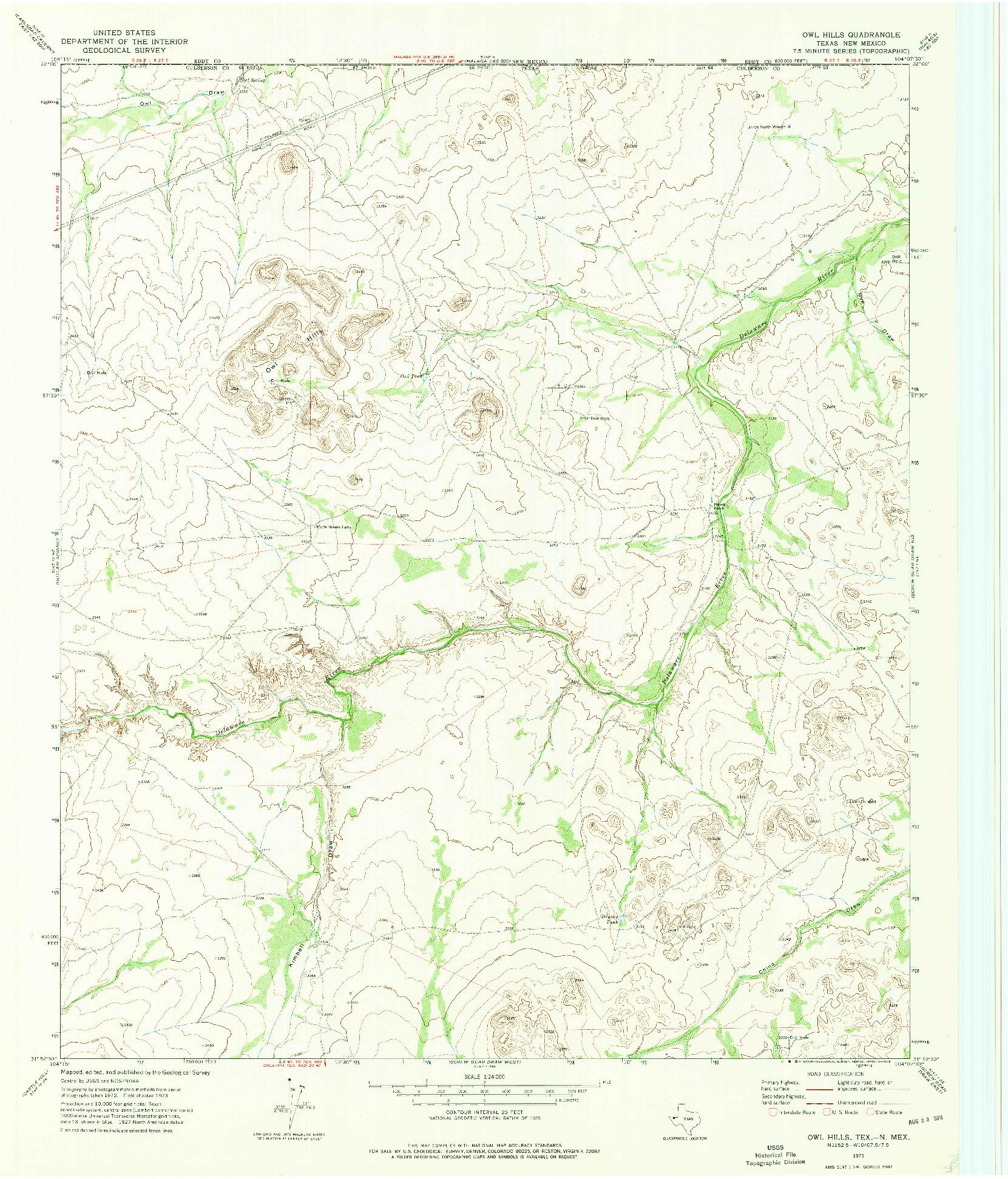 USGS 1:24000-SCALE QUADRANGLE FOR OWL HILLS, TX 1973