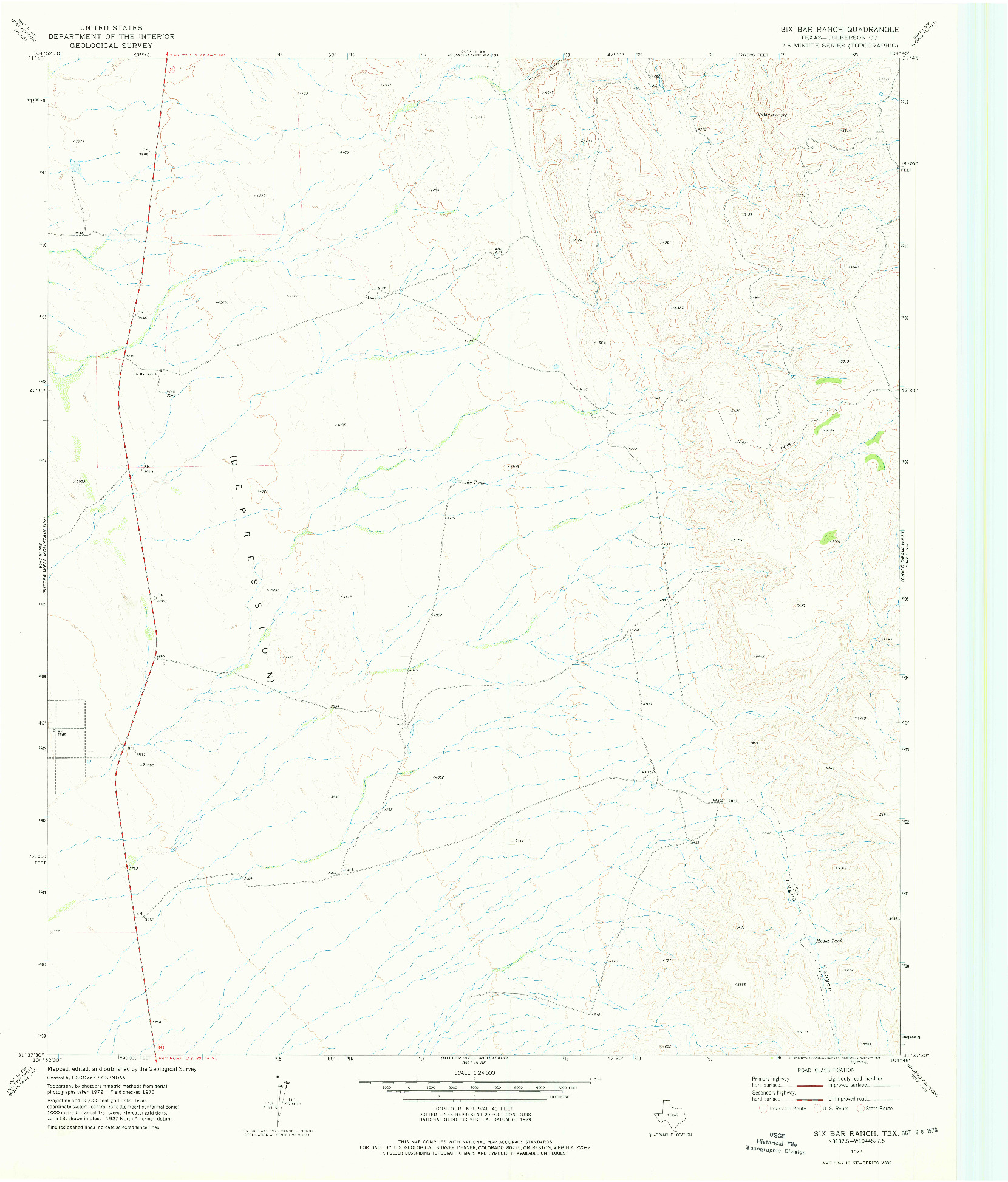 USGS 1:24000-SCALE QUADRANGLE FOR SIX BAR RANCH, TX 1973