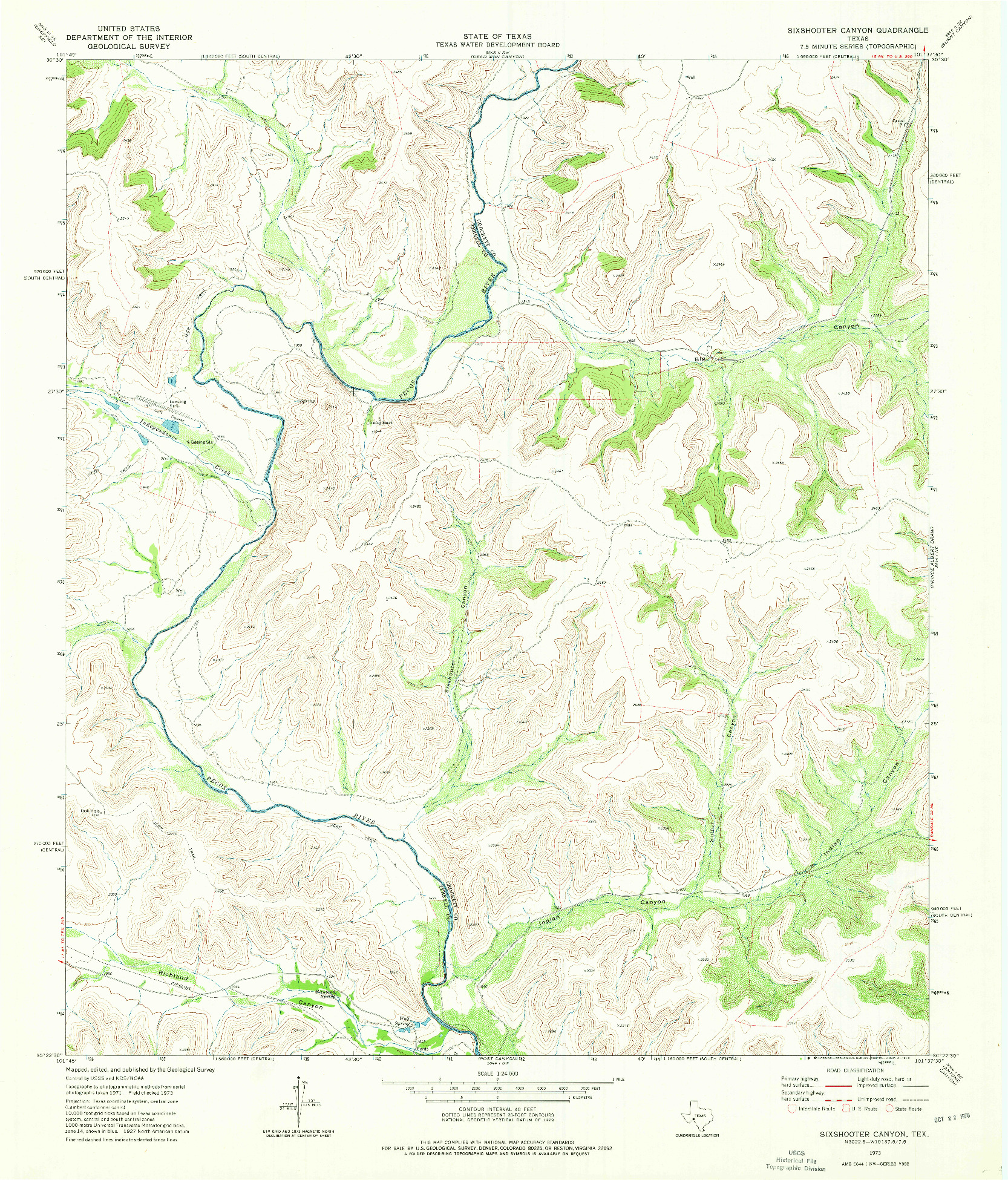 USGS 1:24000-SCALE QUADRANGLE FOR SIXSHOOTER CANYON, TX 1973