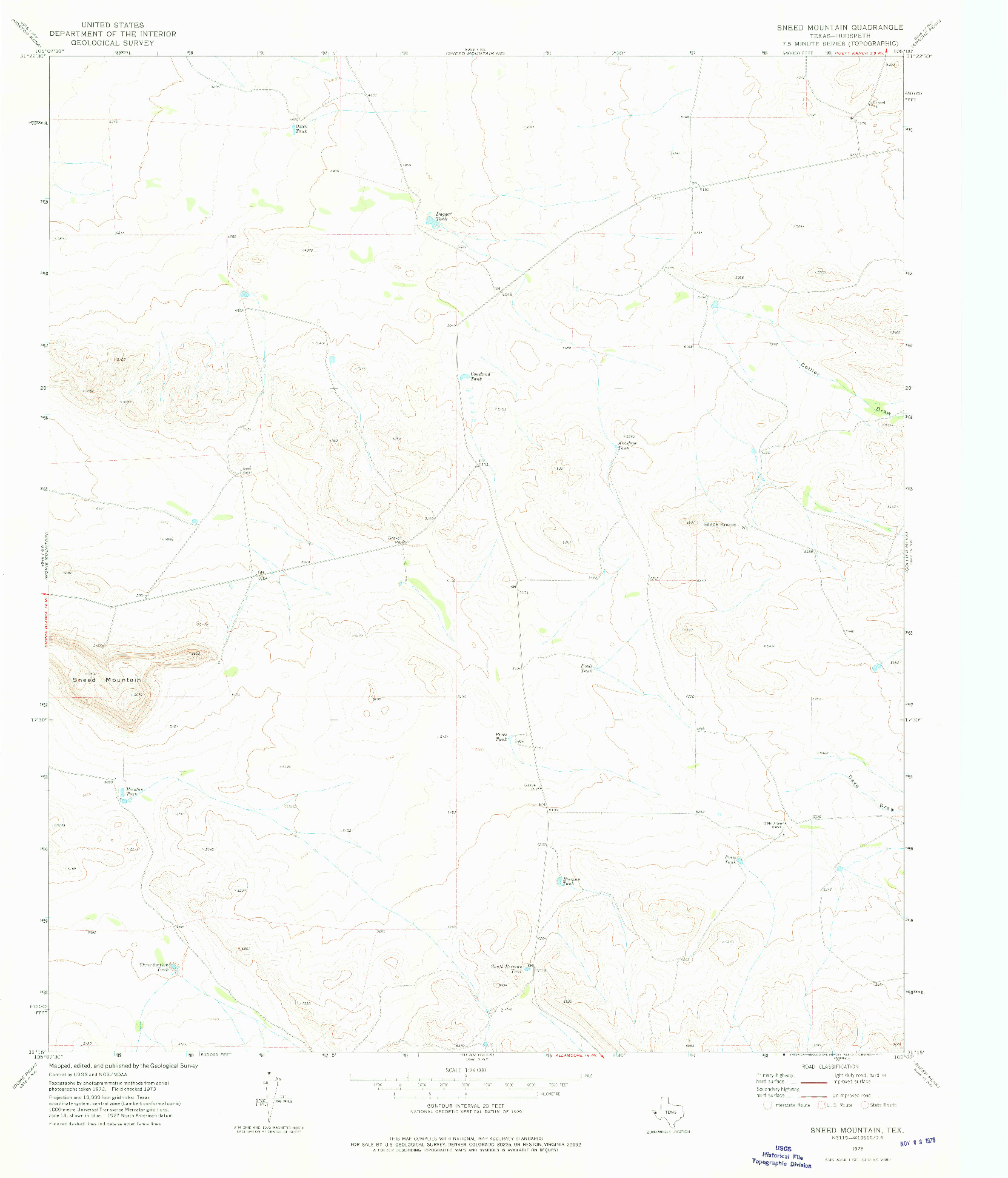 USGS 1:24000-SCALE QUADRANGLE FOR SNEED MOUNTAIN, TX 1973