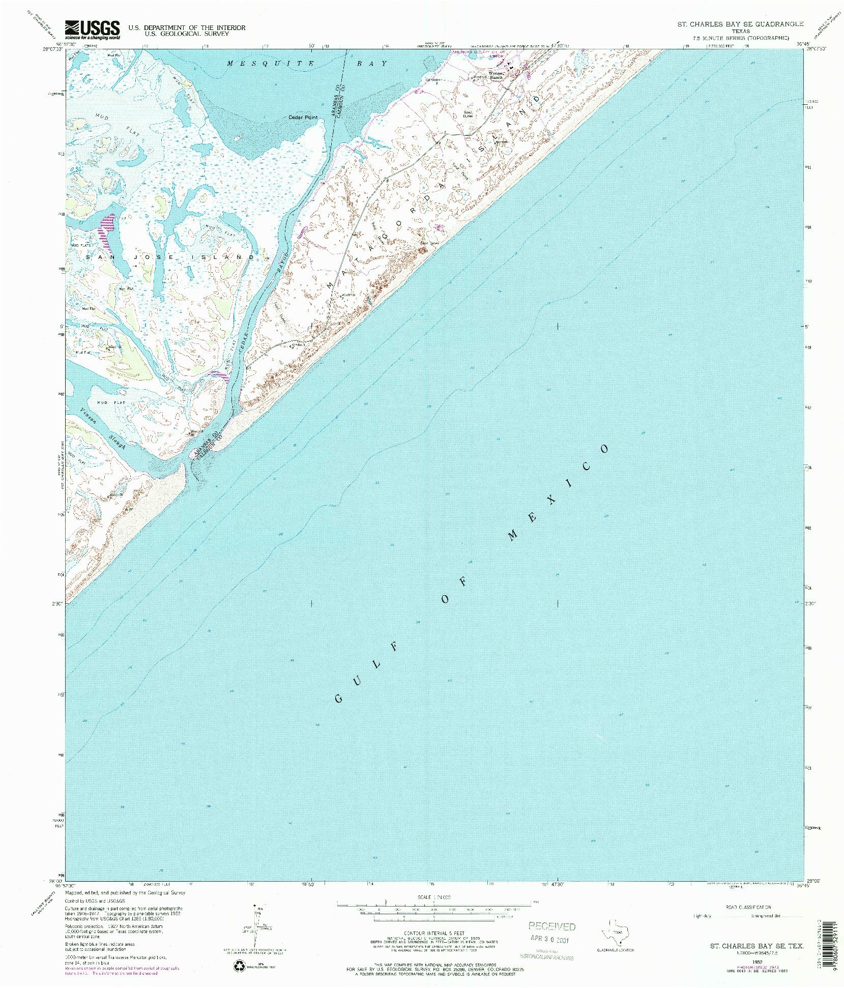 USGS 1:24000-SCALE QUADRANGLE FOR ST. CHARLES BAY SE, TX 1952