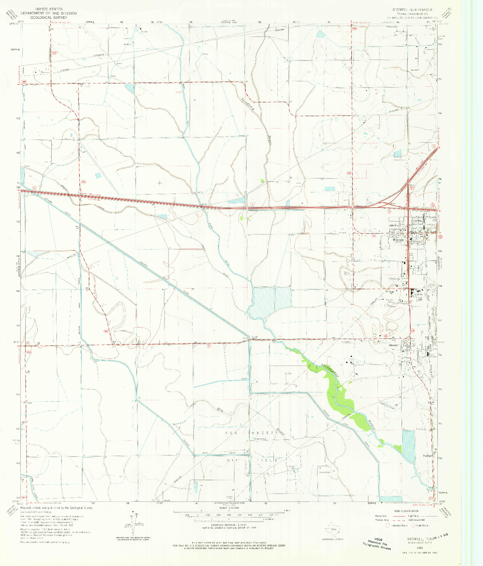 USGS 1:24000-SCALE QUADRANGLE FOR STOWELL, TX 1962
