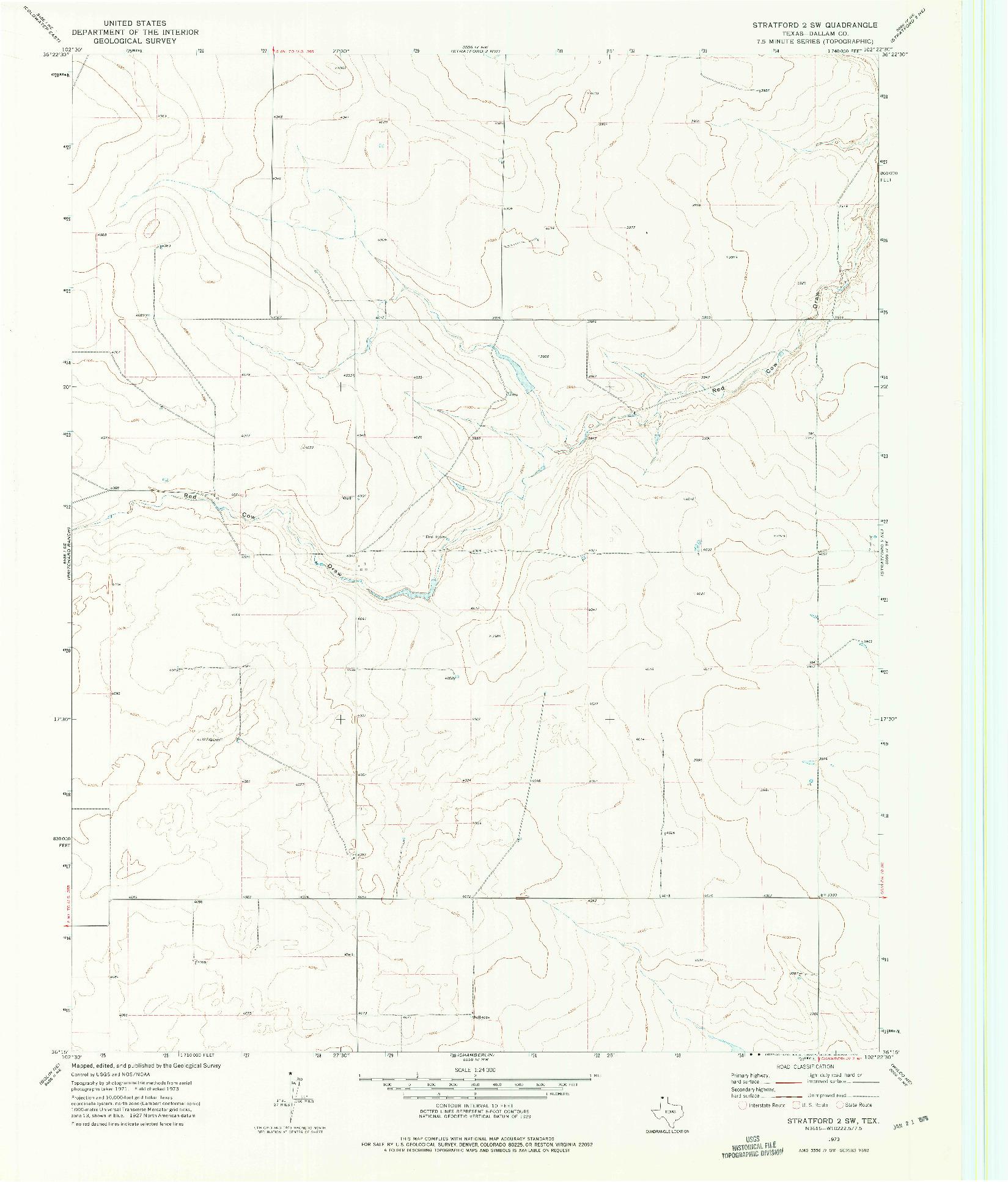 USGS 1:24000-SCALE QUADRANGLE FOR STRATFORD 2 SW, TX 1973