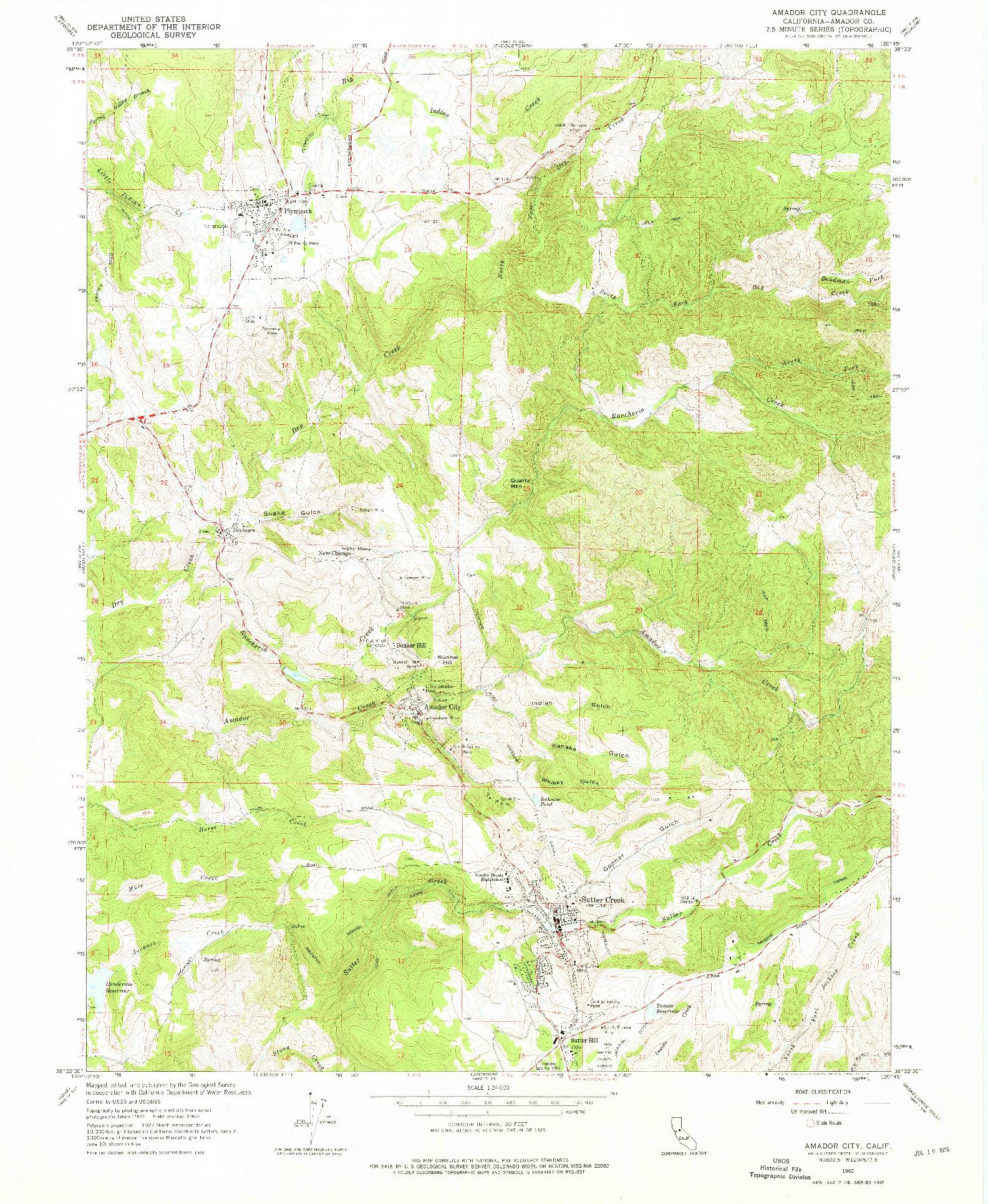 USGS 1:24000-SCALE QUADRANGLE FOR AMADOR CITY, CA 1962