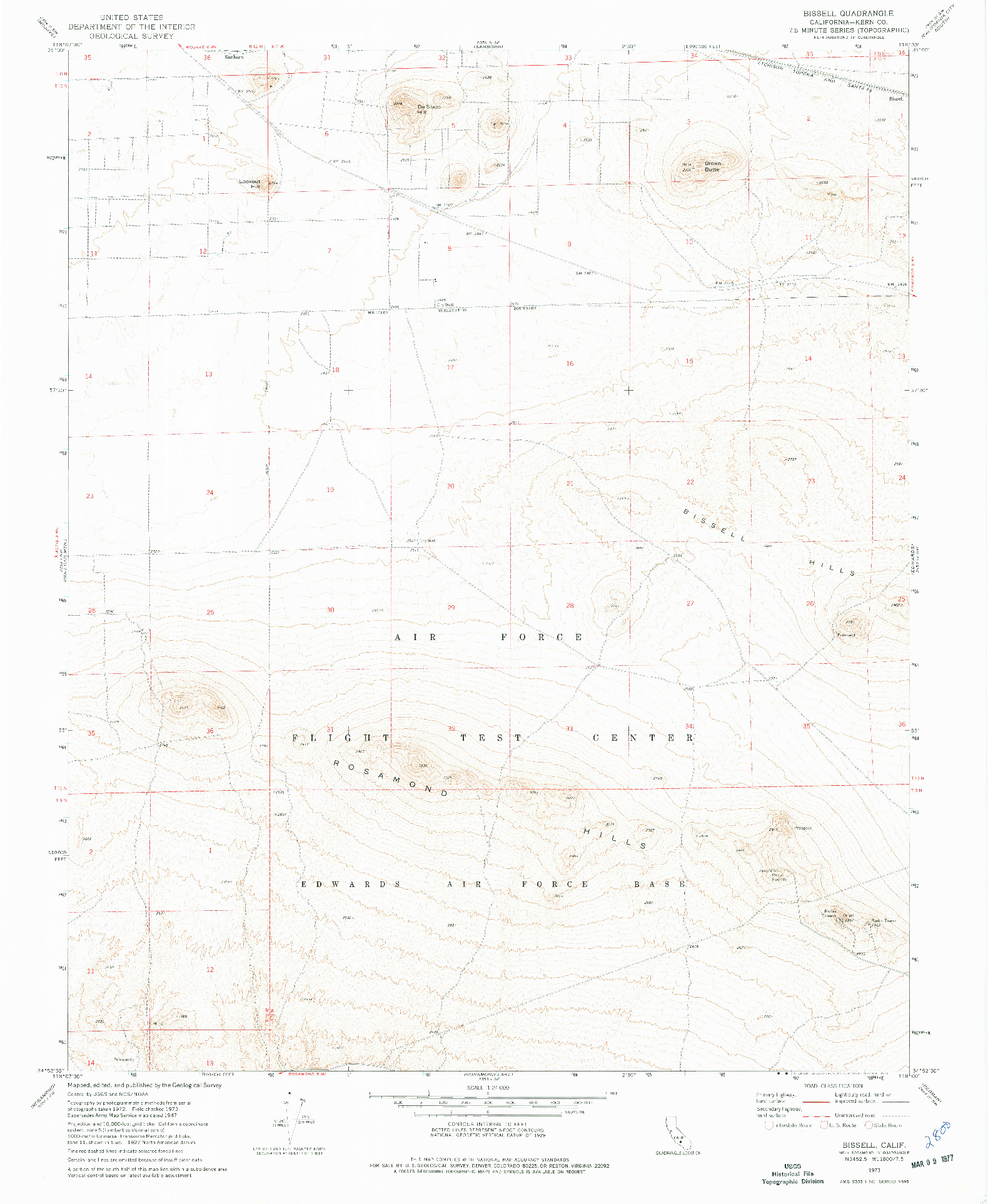 USGS 1:24000-SCALE QUADRANGLE FOR BISSELL, CA 1973