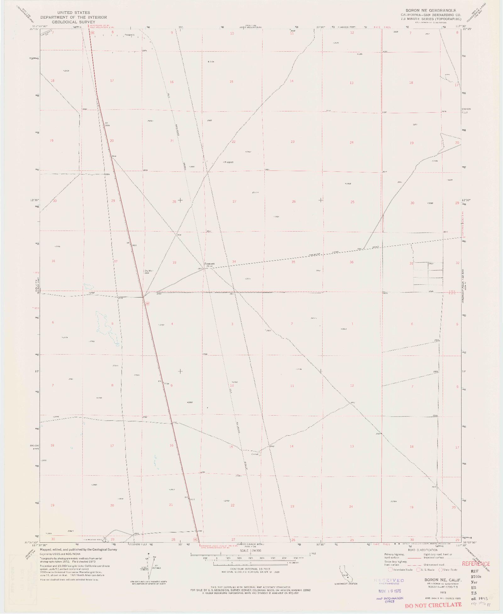 USGS 1:24000-SCALE QUADRANGLE FOR BORON NE, CA 1973