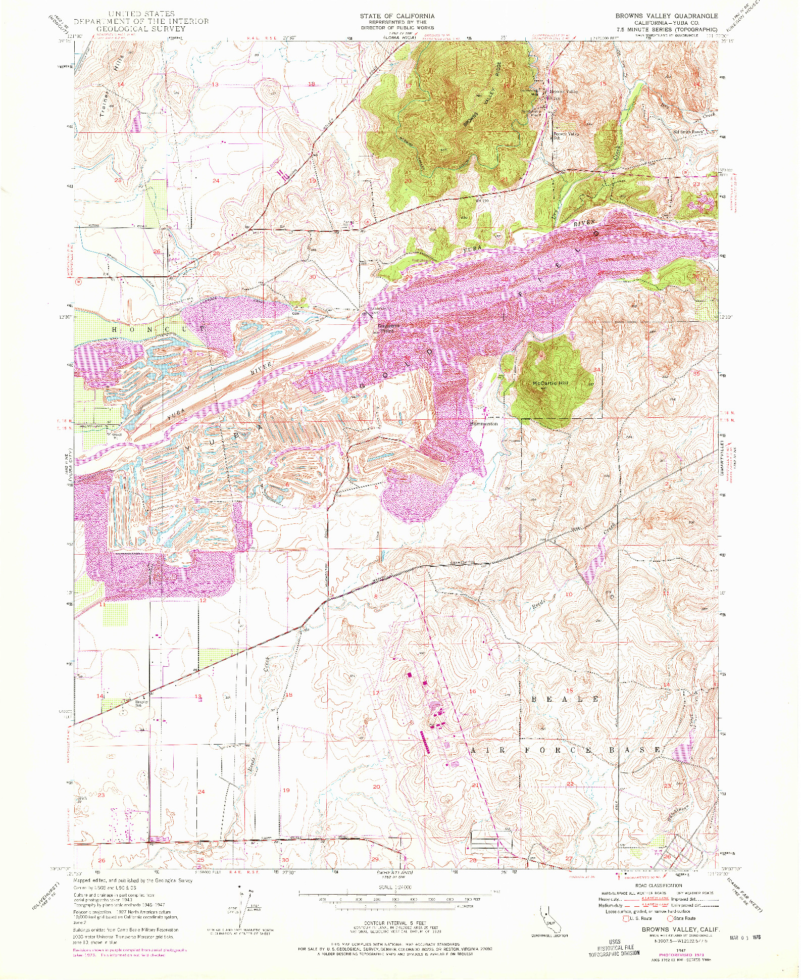 USGS 1:24000-SCALE QUADRANGLE FOR BROWNS VALLEY, CA 1947