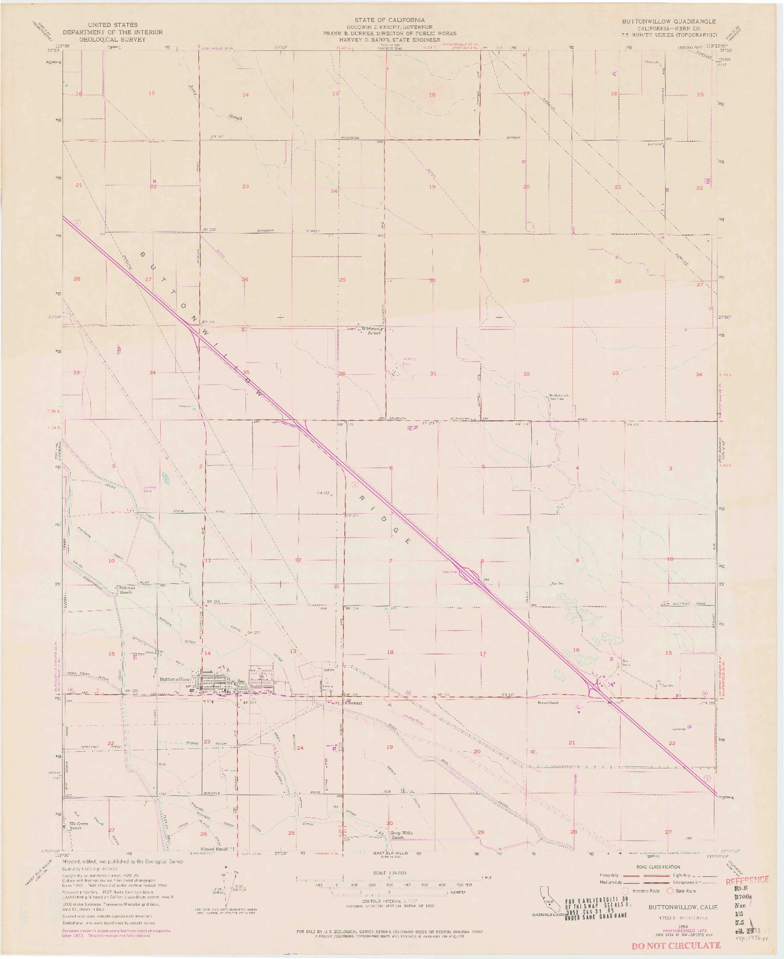 USGS 1:24000-SCALE QUADRANGLE FOR BUTTONWILLOW, CA 1954