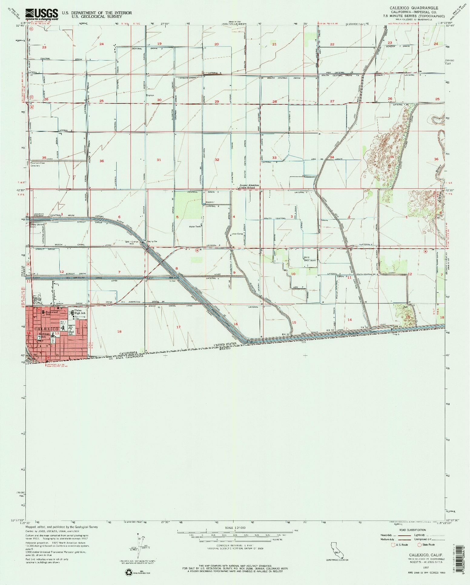 USGS 1:24000-SCALE QUADRANGLE FOR CALEXICO, CA 1957