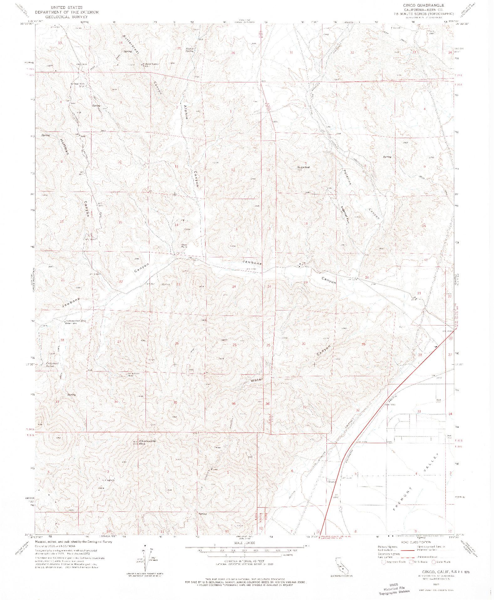 USGS 1:24000-SCALE QUADRANGLE FOR CINCO, CA 1972
