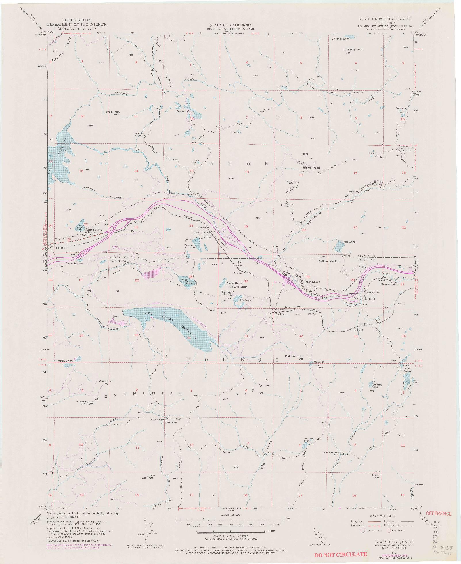 USGS 1:24000-SCALE QUADRANGLE FOR CISCO GROVE, CA 1955