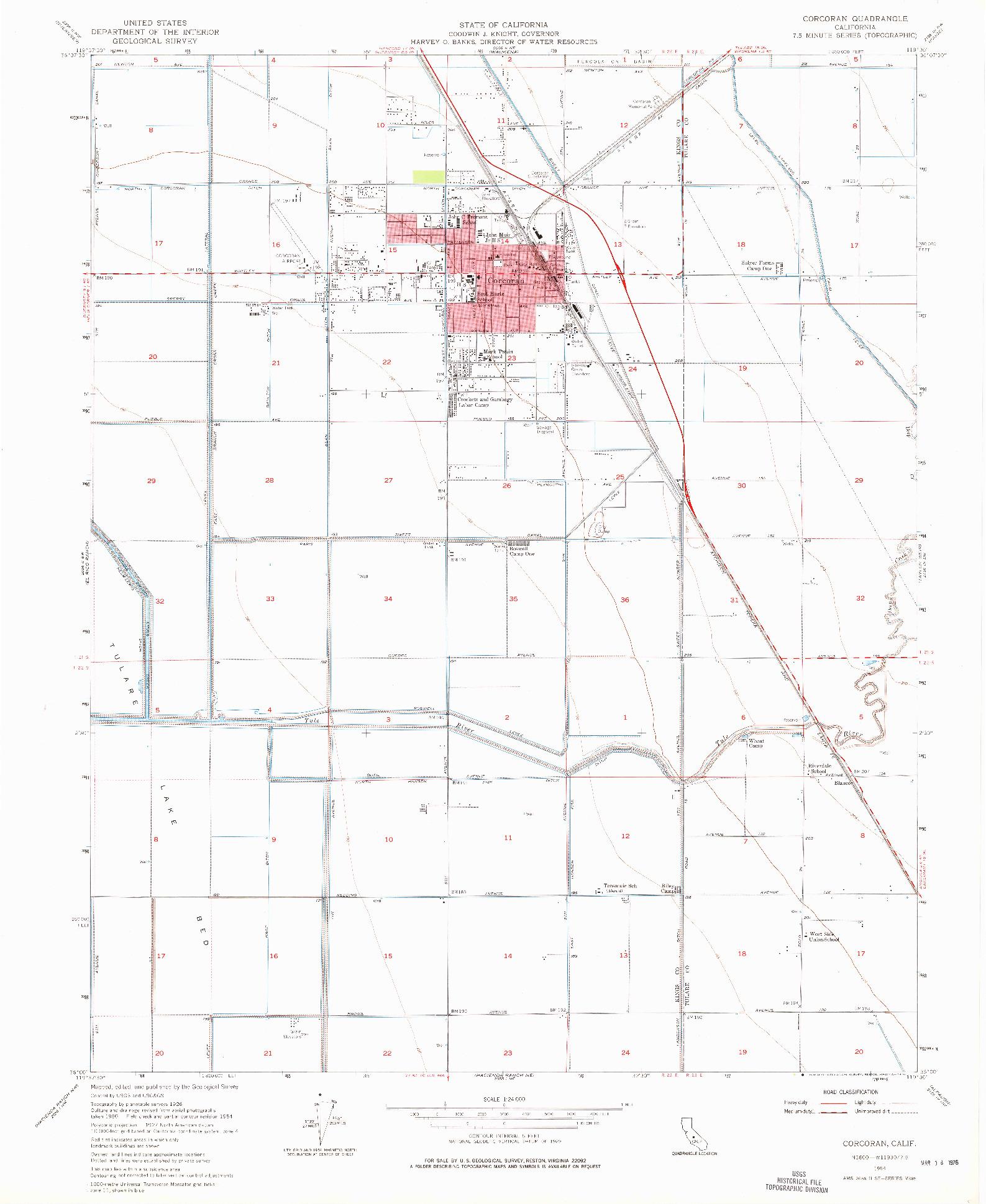 USGS 1:24000-SCALE QUADRANGLE FOR CORCORAN, CA 1954