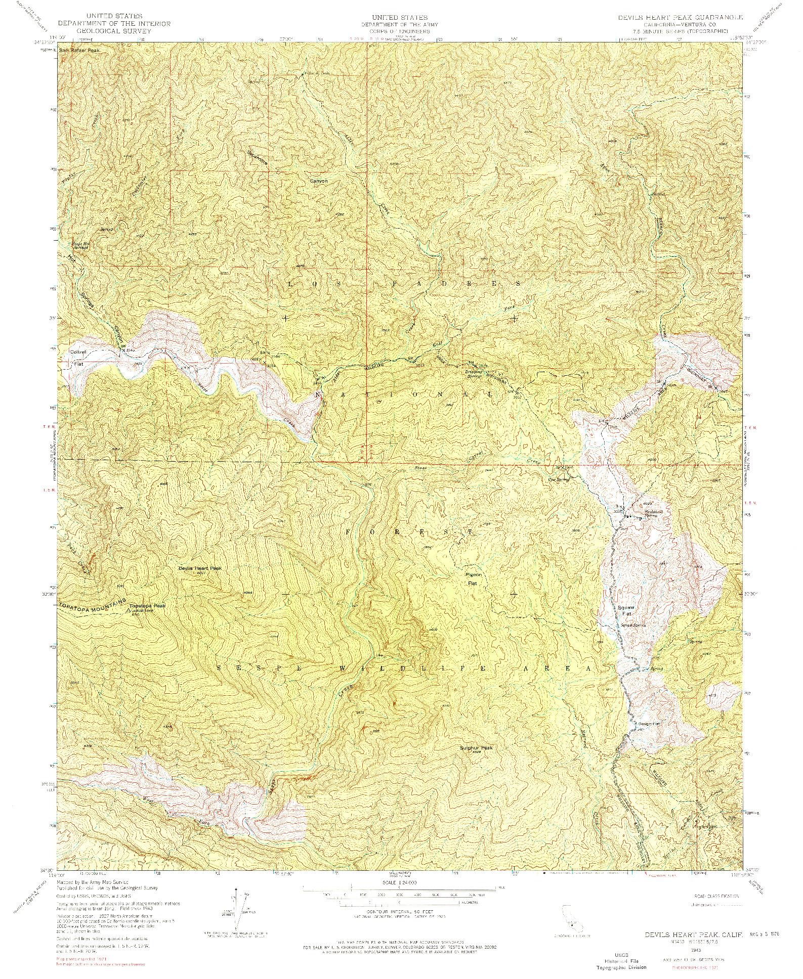 USGS 1:24000-SCALE QUADRANGLE FOR DEVILS HEART PEAK, CA 1943