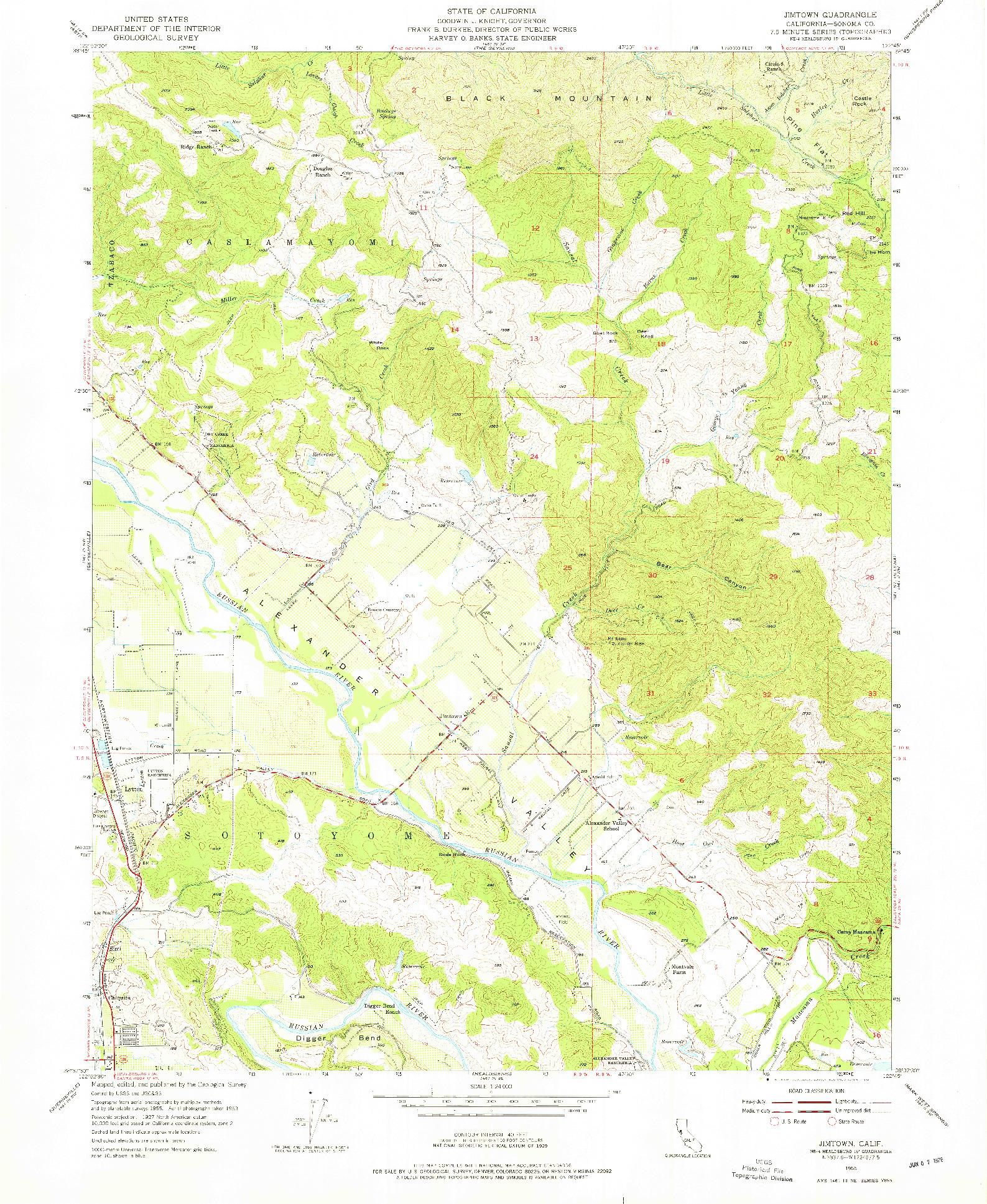 USGS 1:24000-SCALE QUADRANGLE FOR JIMTOWN, CA 1955