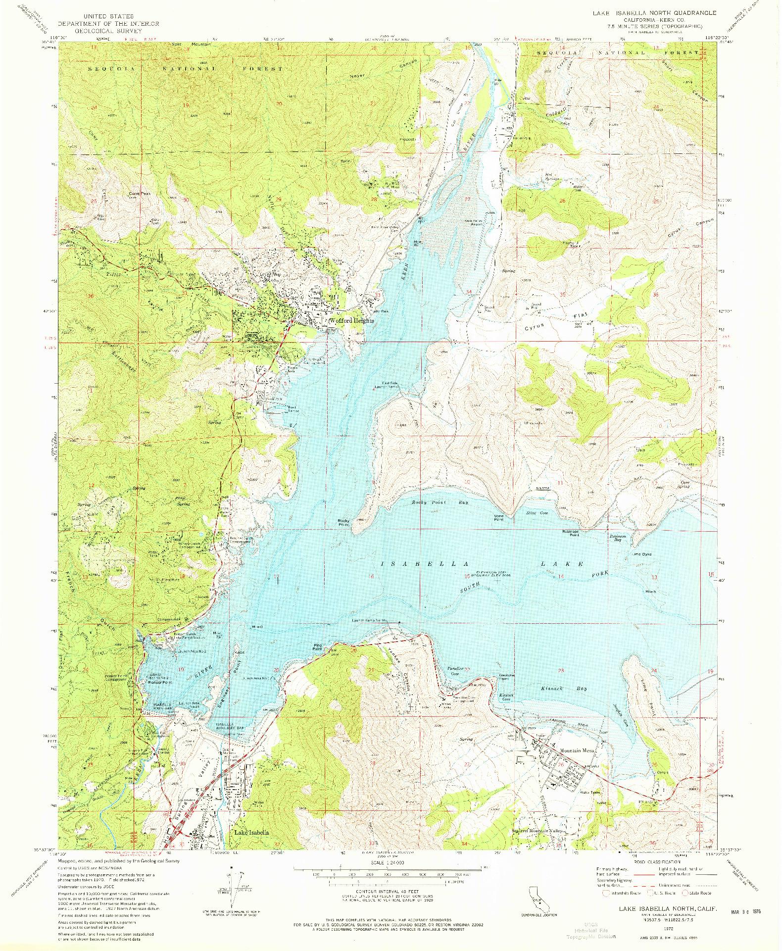 USGS 1:24000-SCALE QUADRANGLE FOR LAKE ISABELLA NORTH, CA 1972