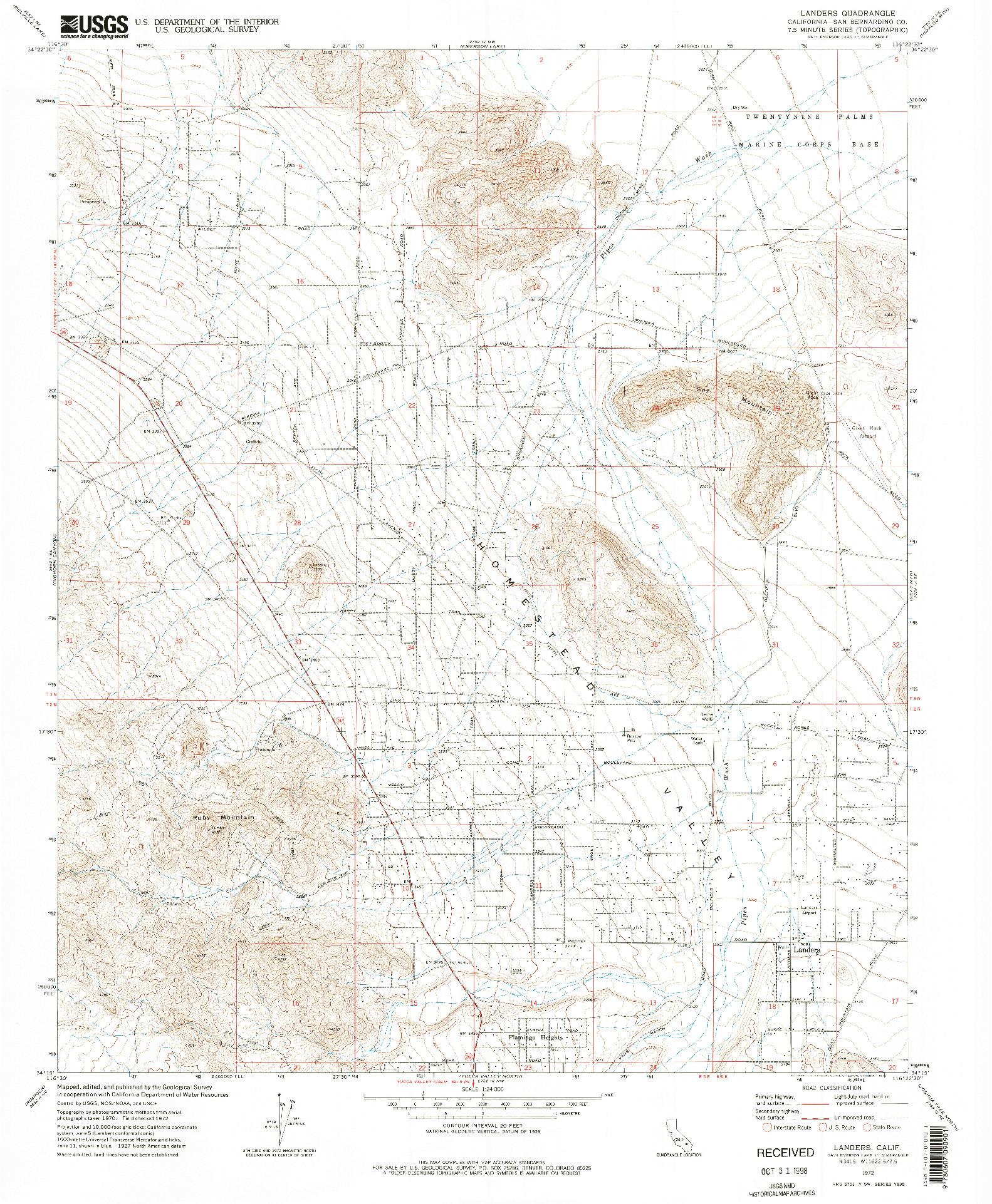 USGS 1:24000-SCALE QUADRANGLE FOR LANDERS, CA 1972