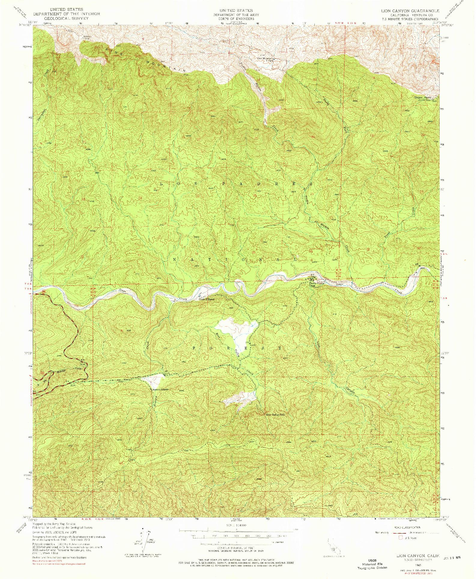 USGS 1:24000-SCALE QUADRANGLE FOR LION CANYON, CA 1943