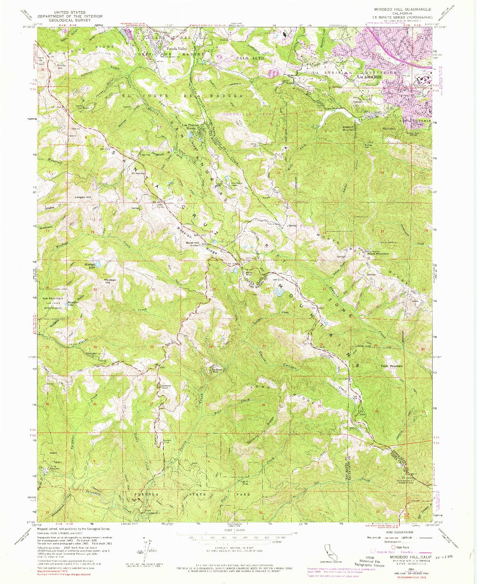 USGS 1:24000-SCALE QUADRANGLE FOR MINDEGO HILL, CA 1961
