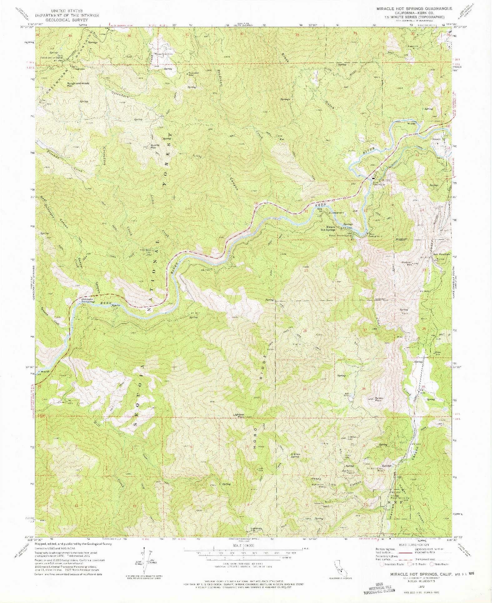 USGS 1:24000-SCALE QUADRANGLE FOR MIRACLE HOT SPRINGS, CA 1972