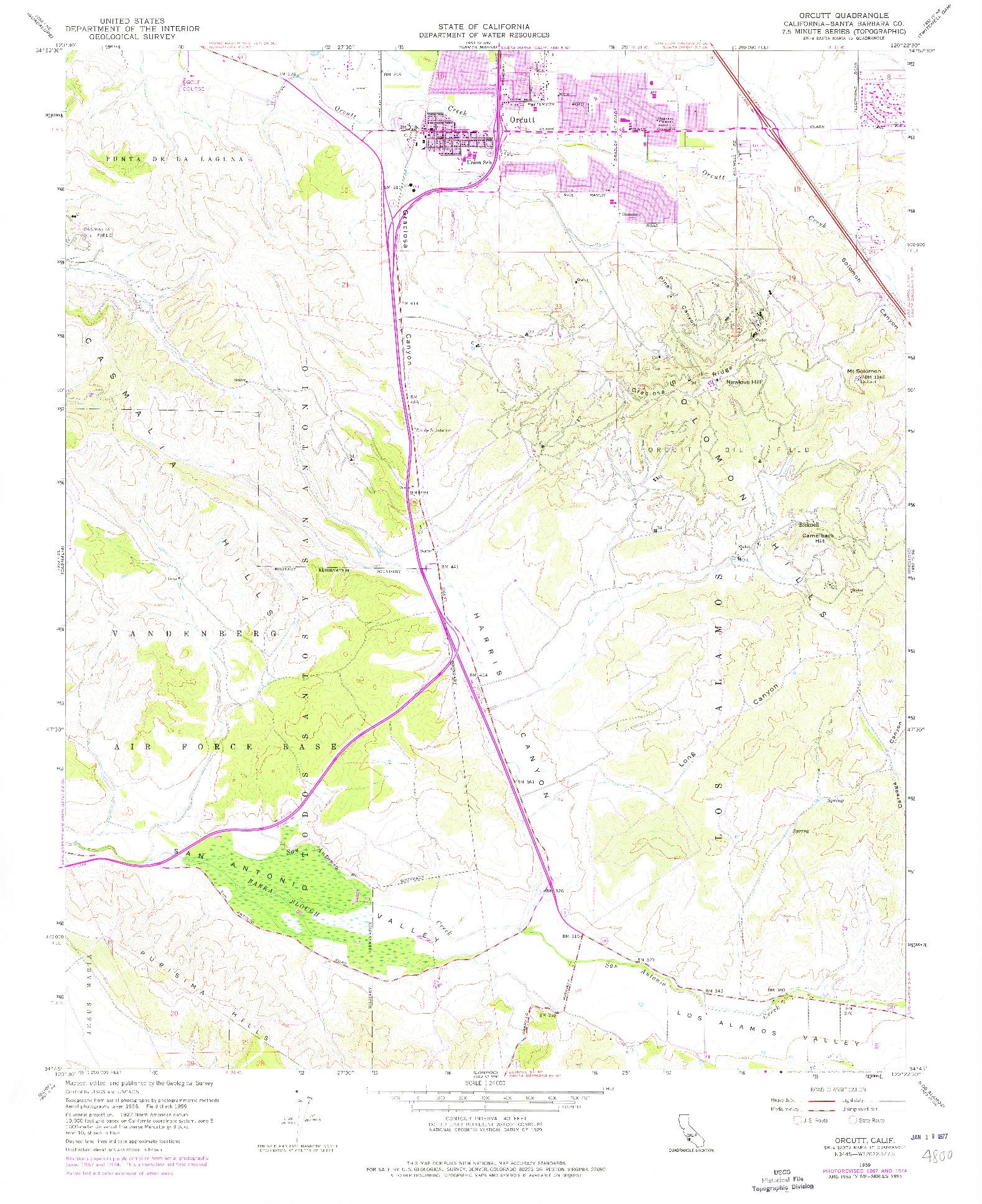 USGS 1:24000-SCALE QUADRANGLE FOR ORCUTT, CA 1959