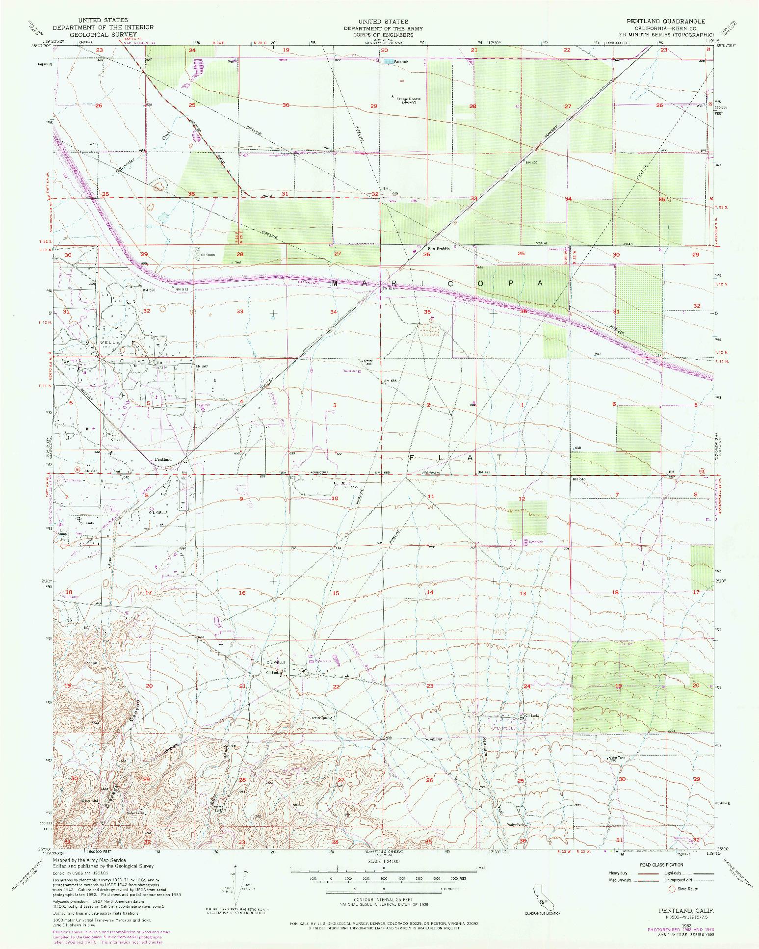 USGS 1:24000-SCALE QUADRANGLE FOR PENTLAND, CA 1953