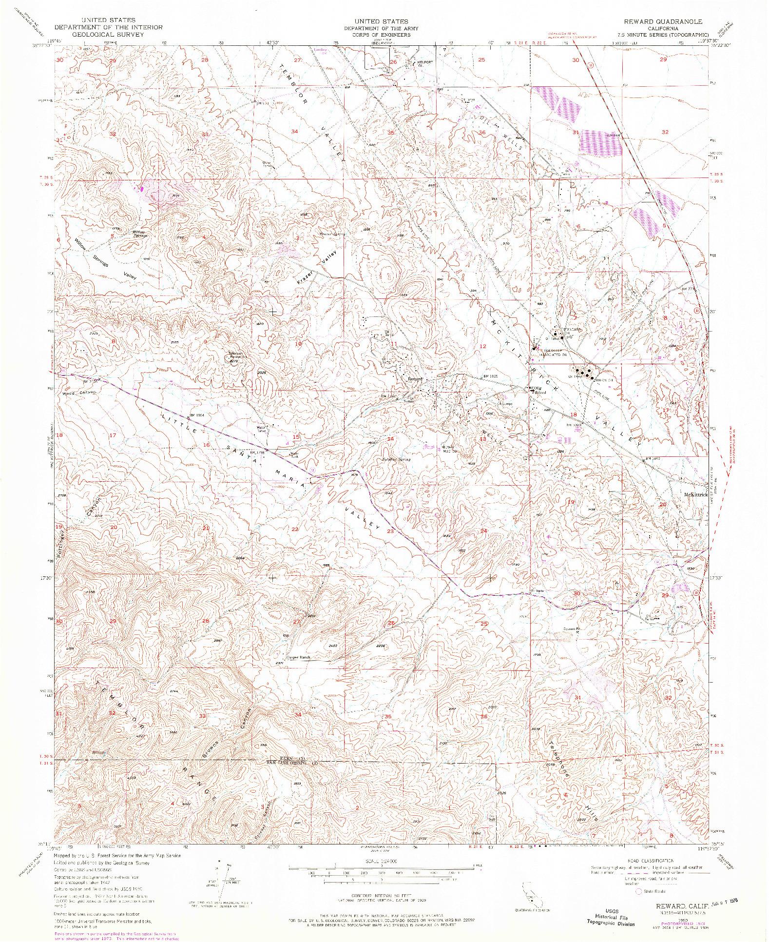 USGS 1:24000-SCALE QUADRANGLE FOR REWARD, CA 1950