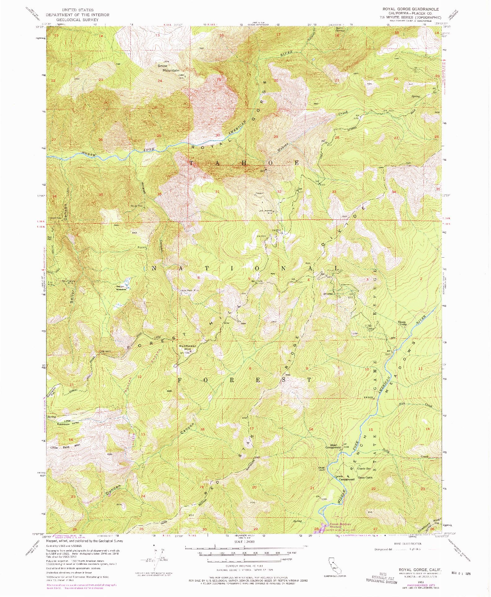 USGS 1:24000-SCALE QUADRANGLE FOR ROYAL GORGE, CA 1953