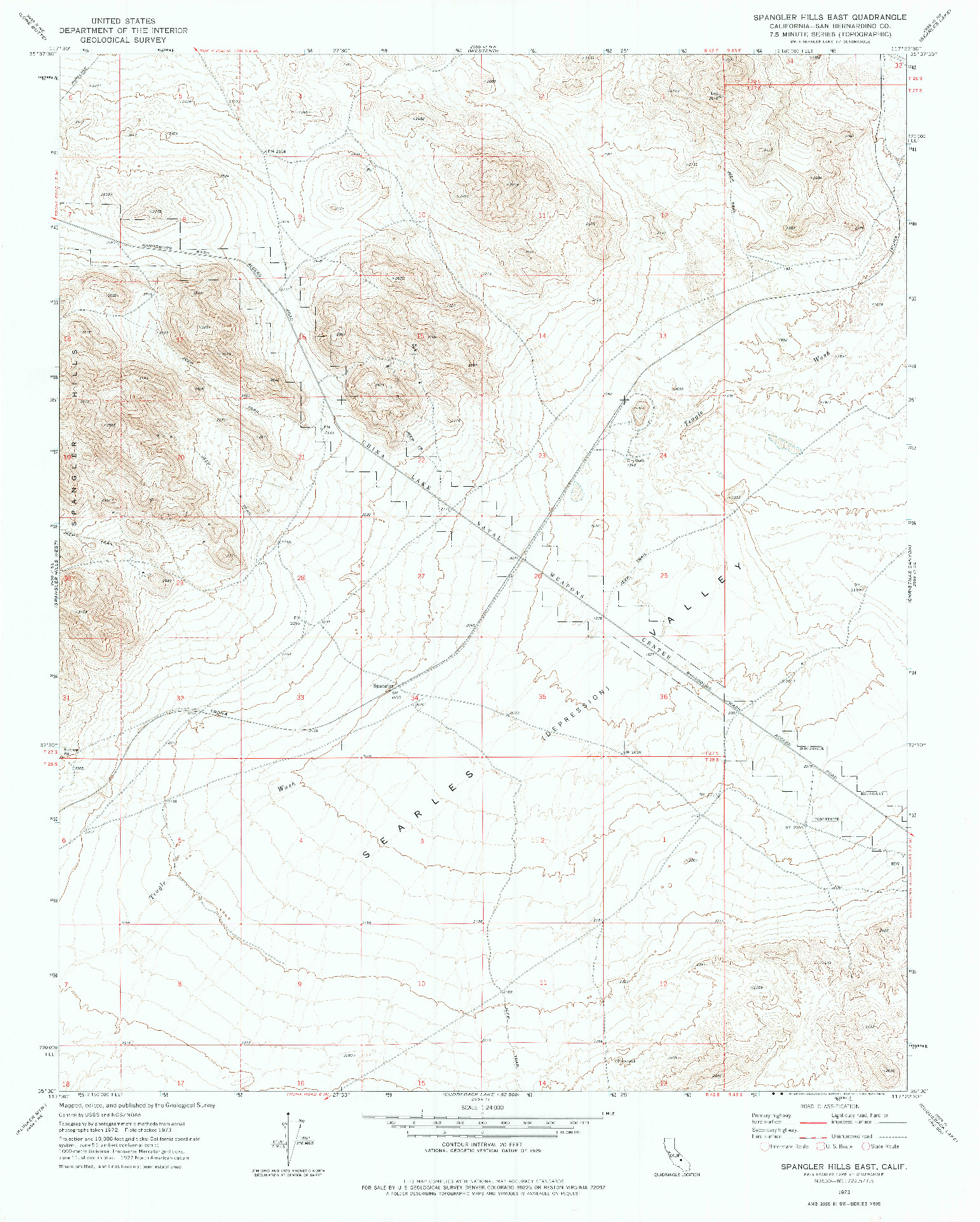 USGS 1:24000-SCALE QUADRANGLE FOR SPANGLER HILLS EAST, CA 1973