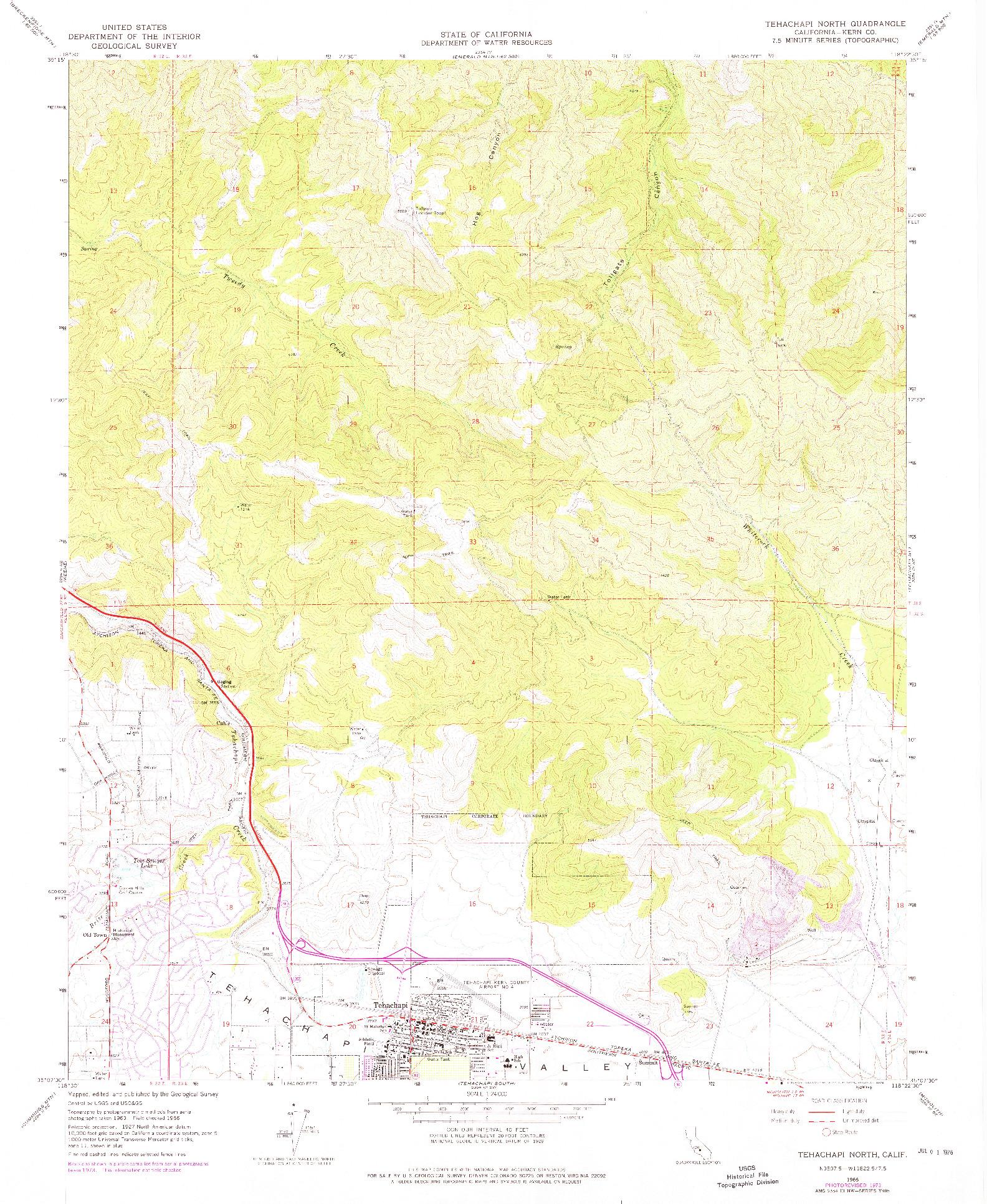 USGS 1:24000-SCALE QUADRANGLE FOR TEHACHAPI NORTH, CA 1966