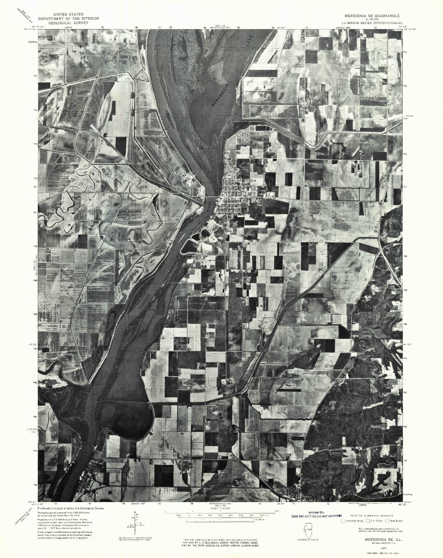 USGS 1:24000-SCALE QUADRANGLE FOR MEREDOSIA SE, IL 1975