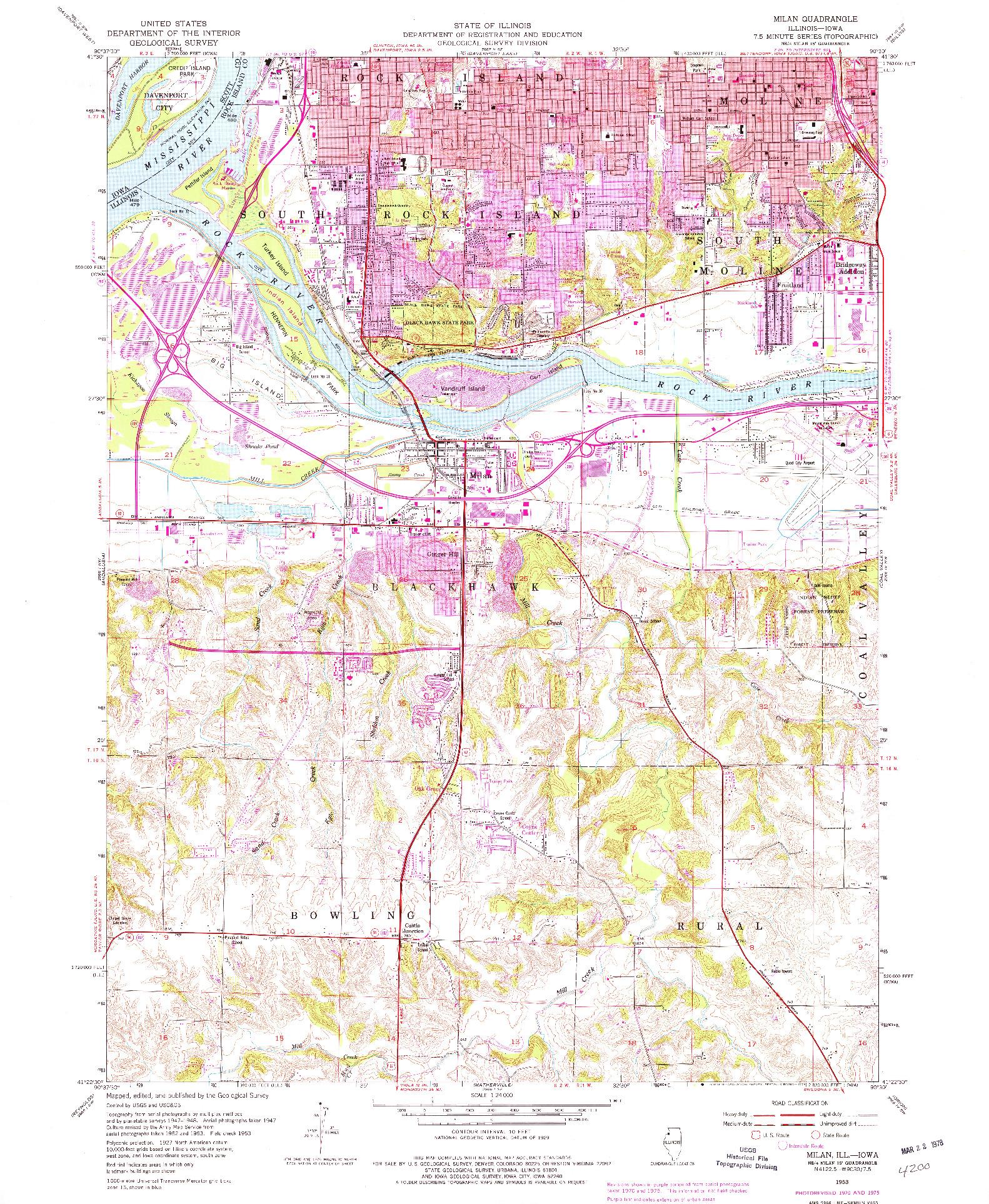 USGS 1:24000-SCALE QUADRANGLE FOR MILAN, IL 1953