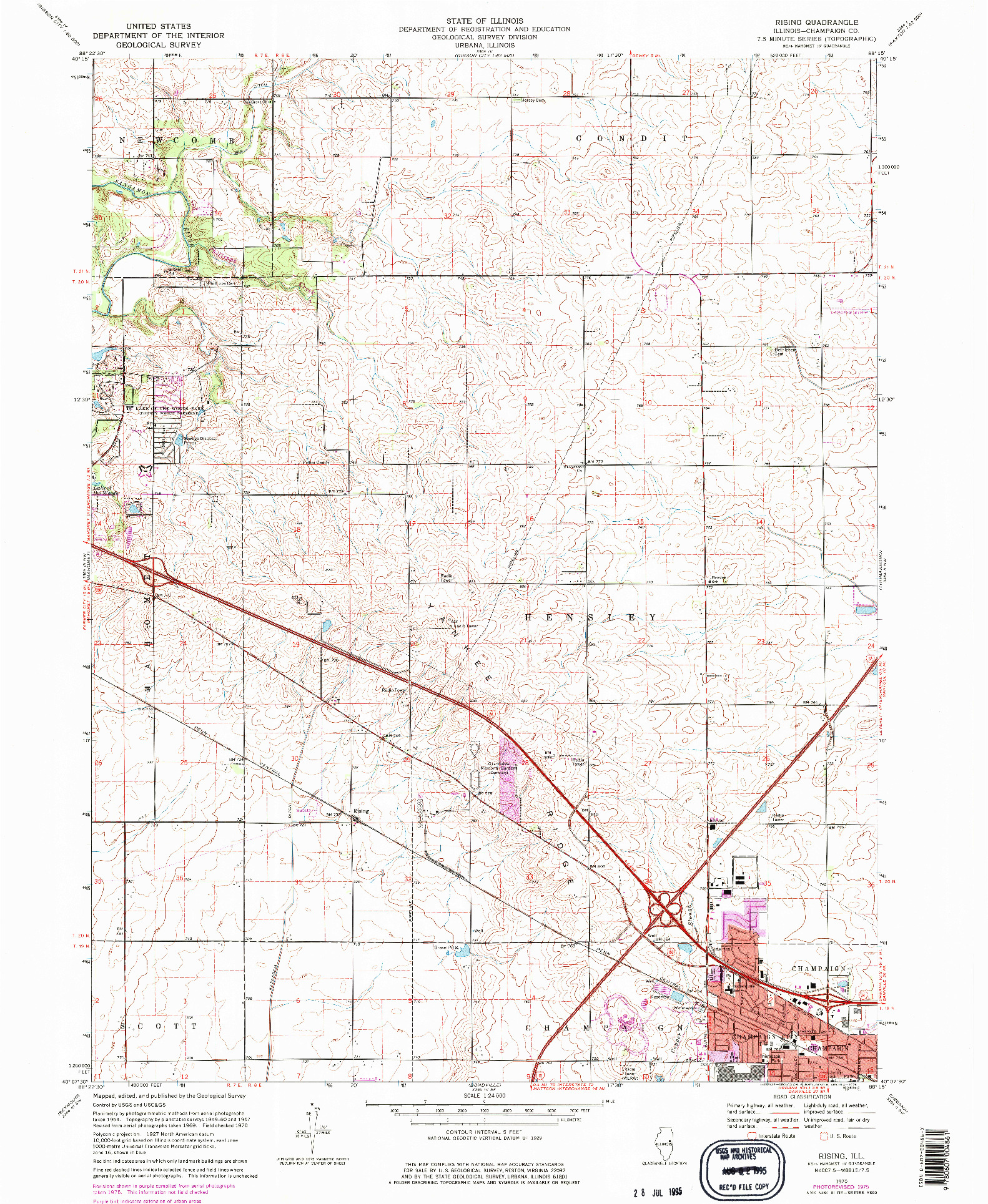 USGS 1:24000-SCALE QUADRANGLE FOR RISING, IL 1970