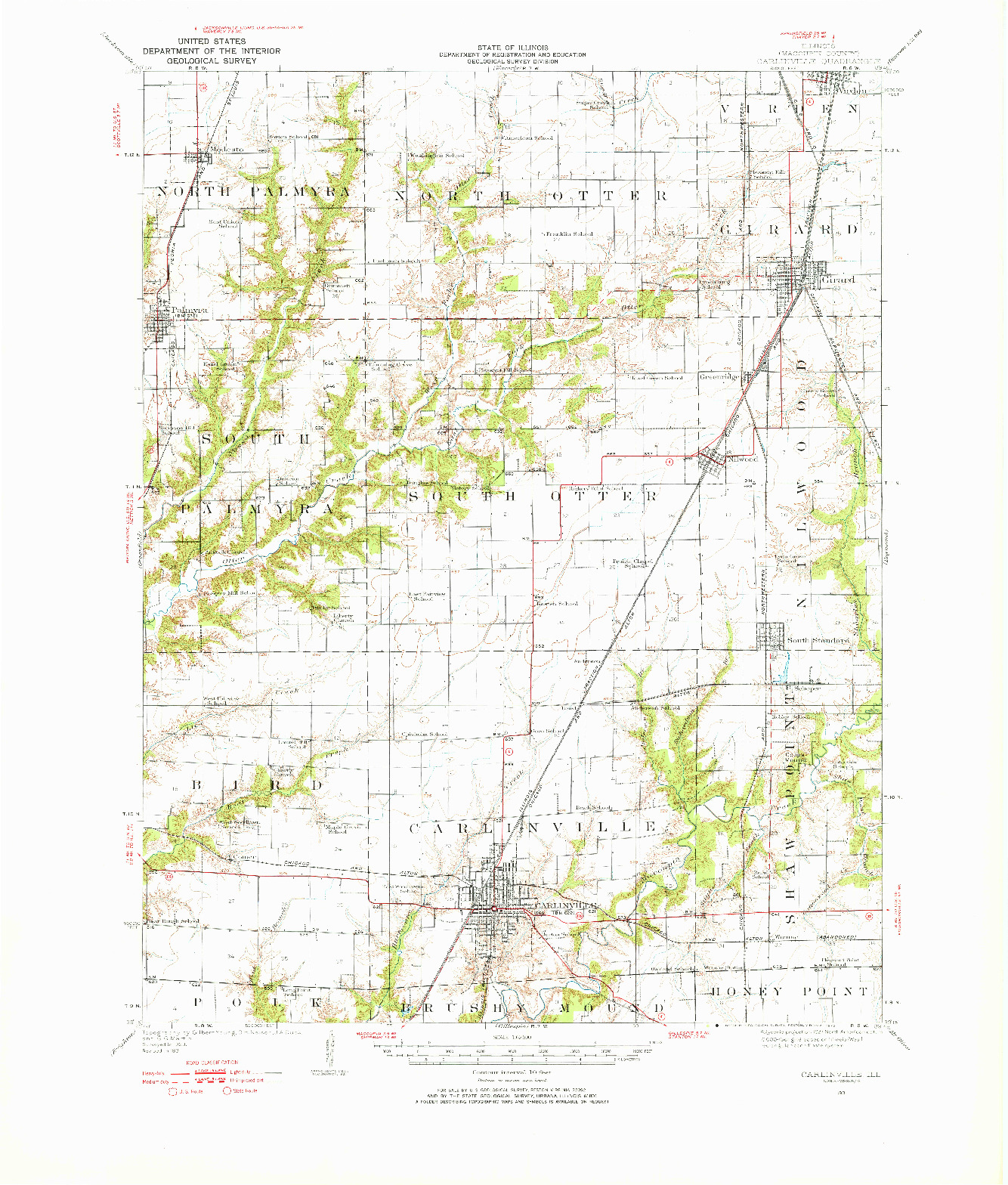 USGS 1:62500-SCALE QUADRANGLE FOR CARLINVILLE, IL 1931