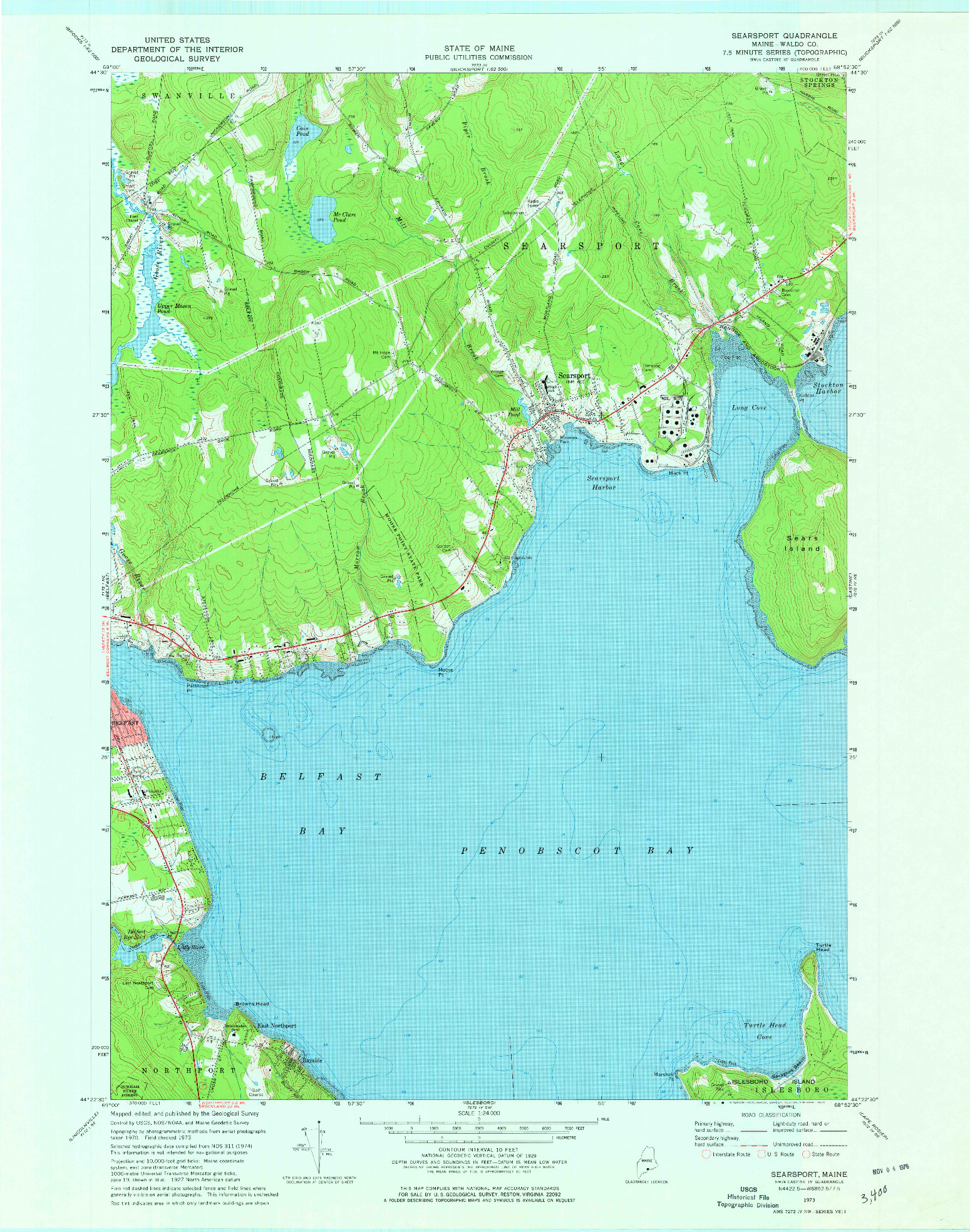 USGS 1:24000-SCALE QUADRANGLE FOR SEARSPORT, ME 1973
