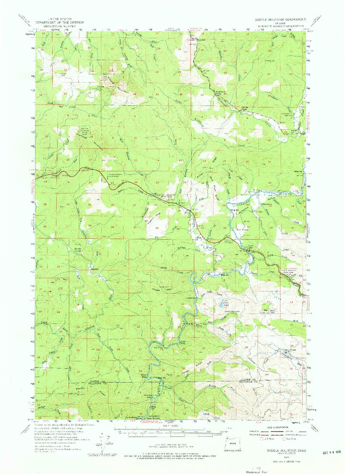 USGS 1:62500-SCALE QUADRANGLE FOR SADDLE MOUNTAIN, OR 1955