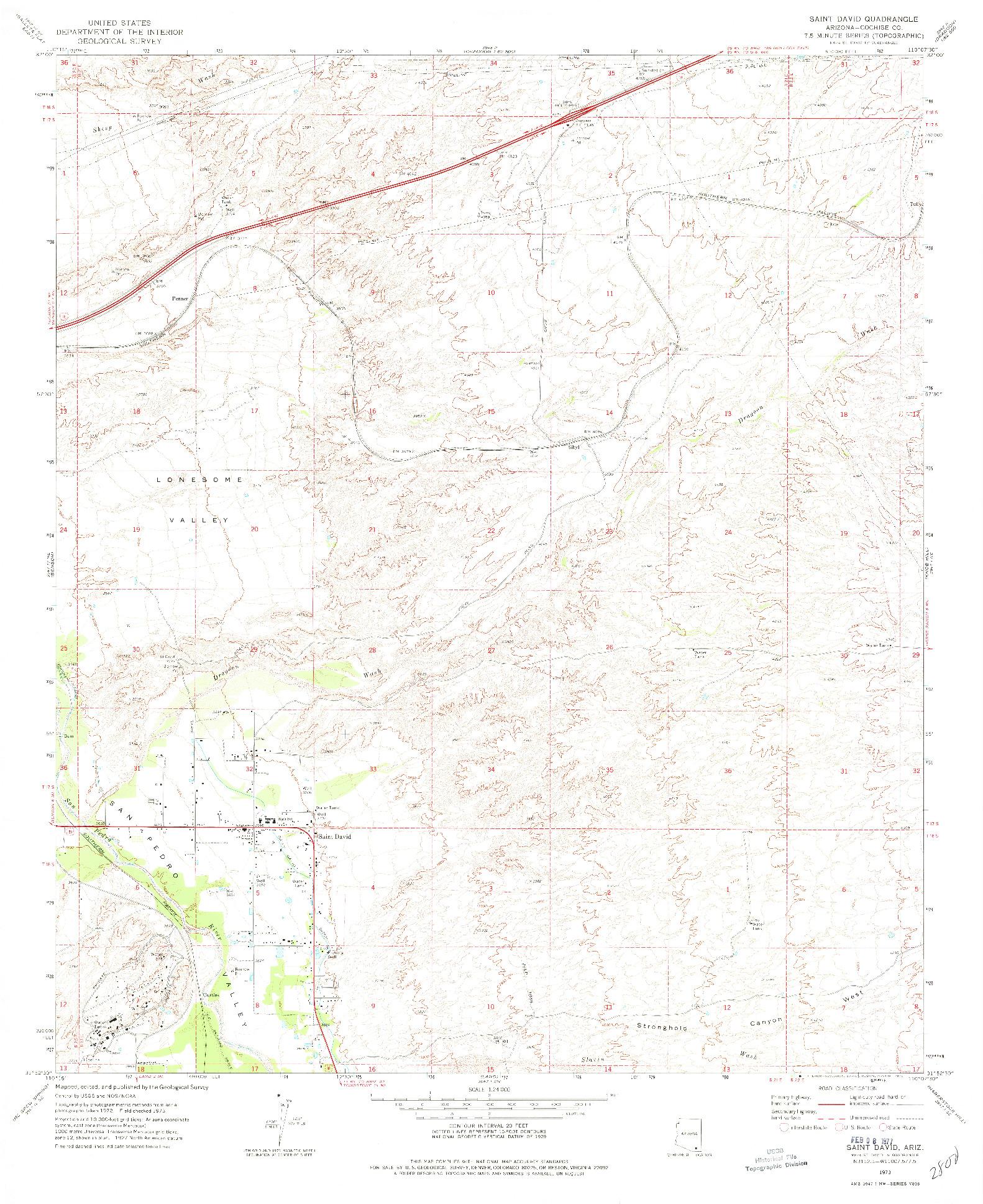 USGS 1:24000-SCALE QUADRANGLE FOR SAINT DAVID, AZ 1973