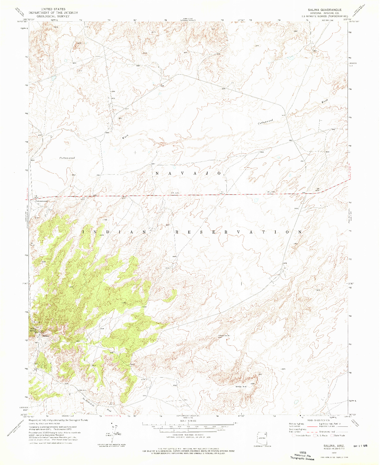 USGS 1:24000-SCALE QUADRANGLE FOR SALINA, AZ 1972