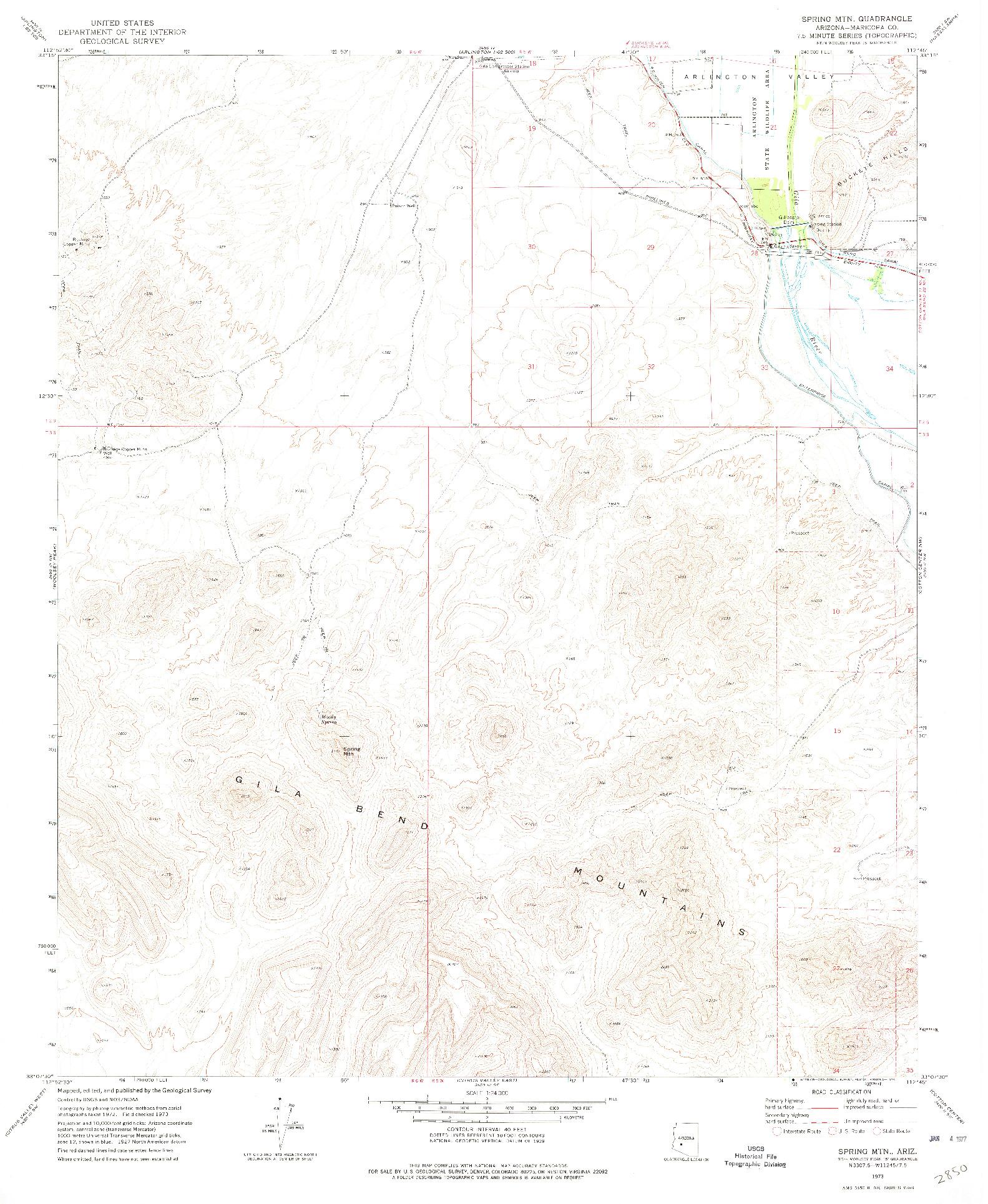 USGS 1:24000-SCALE QUADRANGLE FOR SPRING MTN., AZ 1973