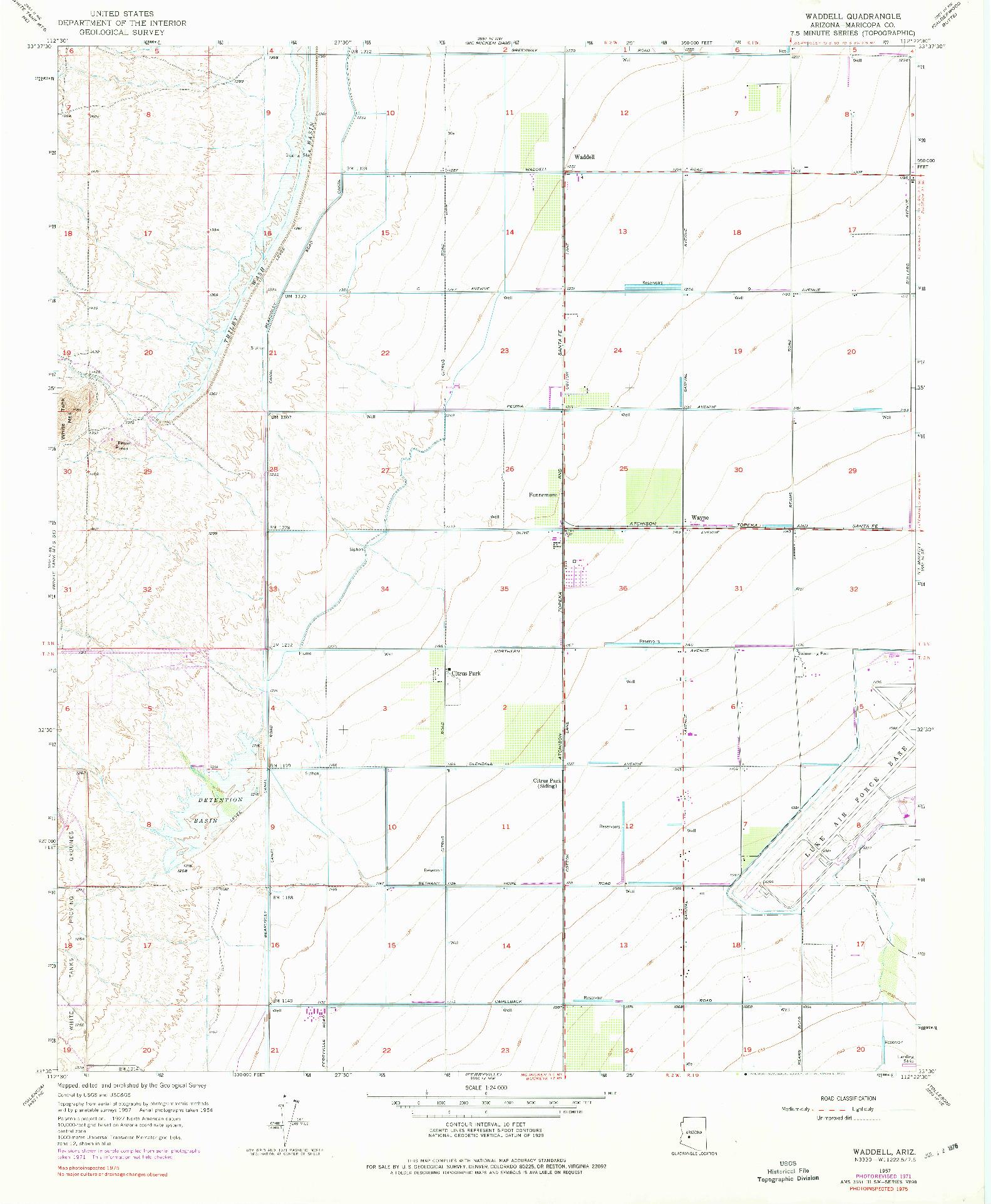 USGS 1:24000-SCALE QUADRANGLE FOR WADDELL, AZ 1957