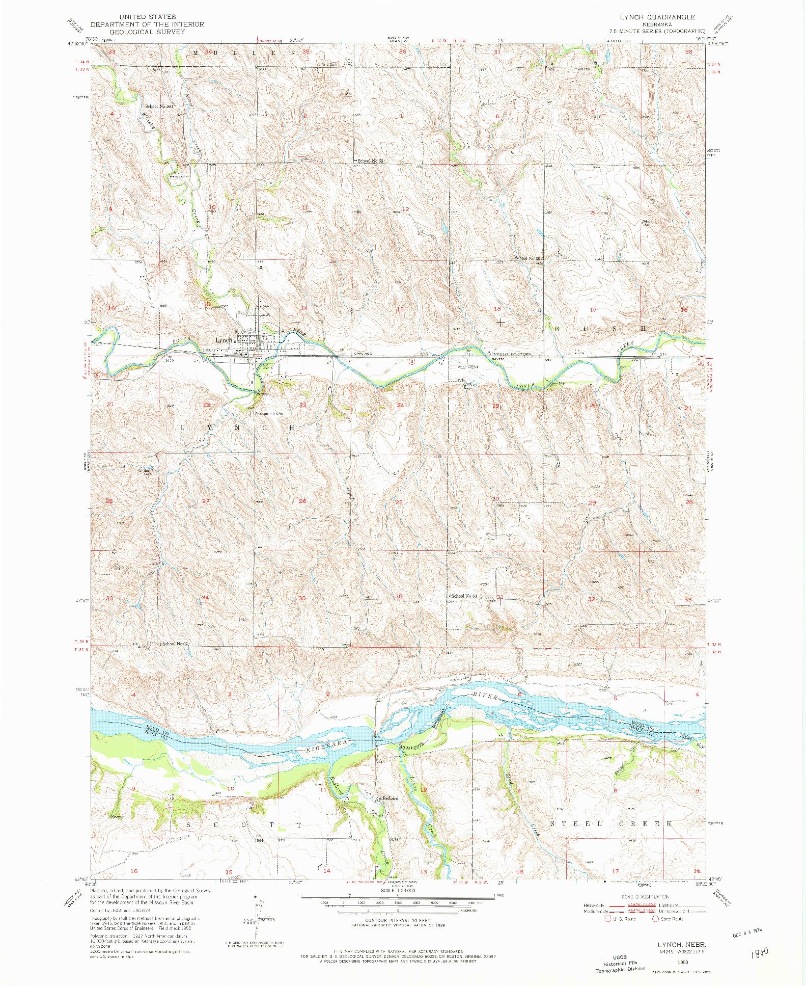 USGS 1:24000-SCALE QUADRANGLE FOR LYNCH, NE 1950