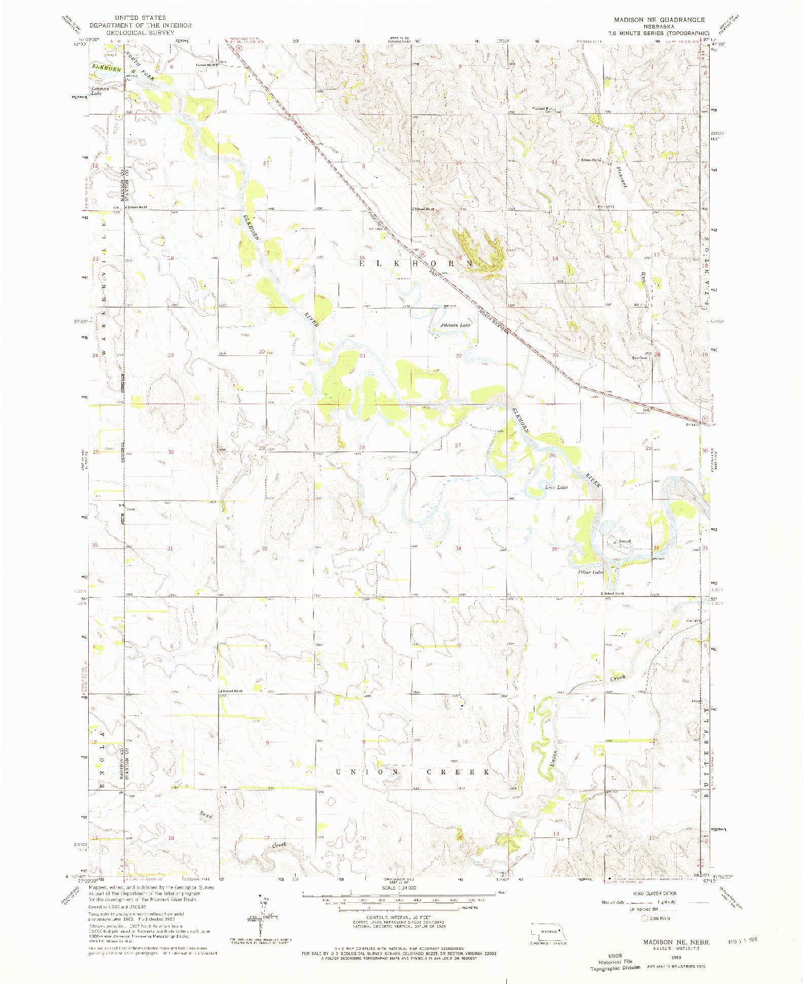 USGS 1:24000-SCALE QUADRANGLE FOR MADISON NE, NE 1963