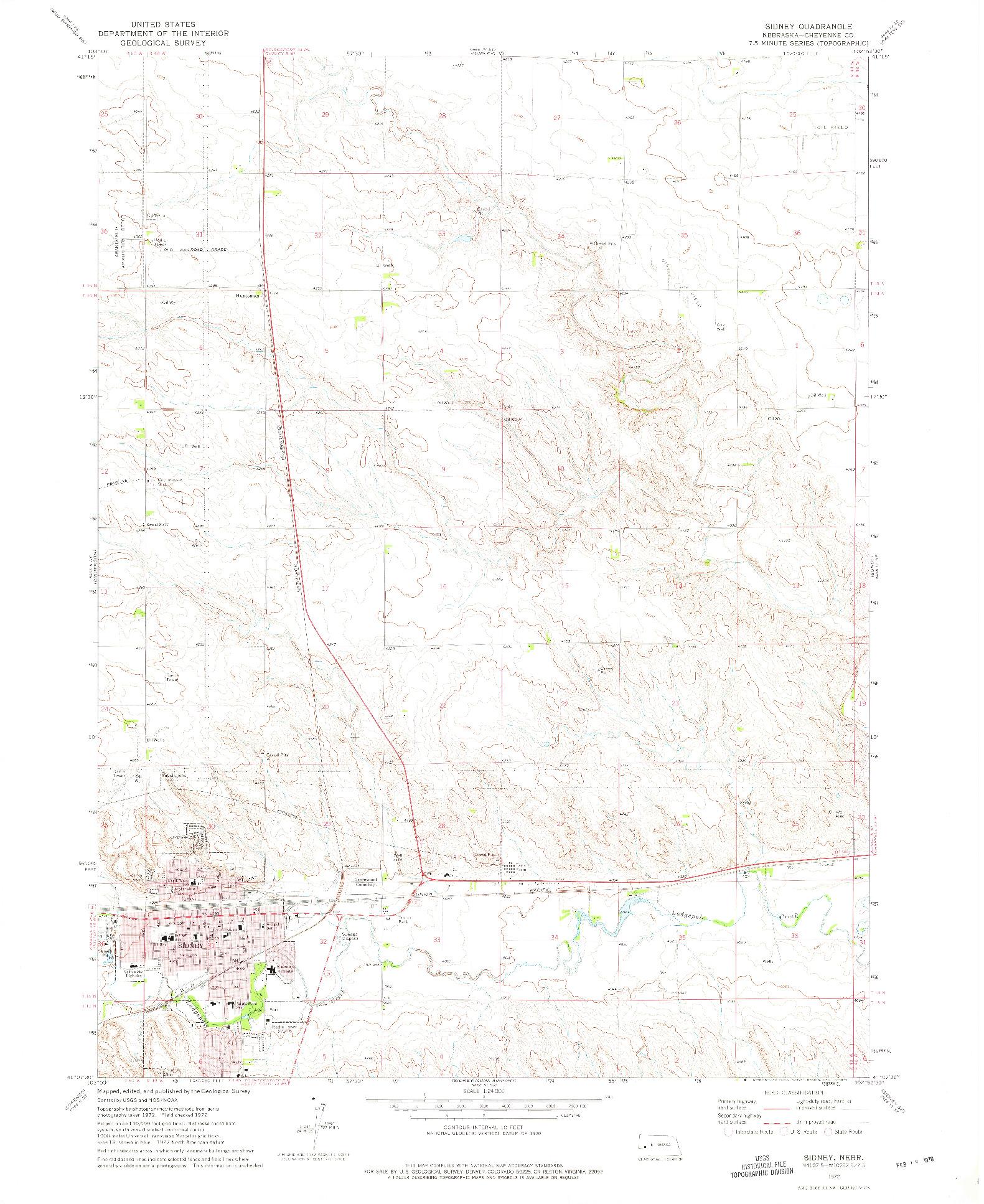 USGS 1:24000-SCALE QUADRANGLE FOR SIDNEY, NE 1972