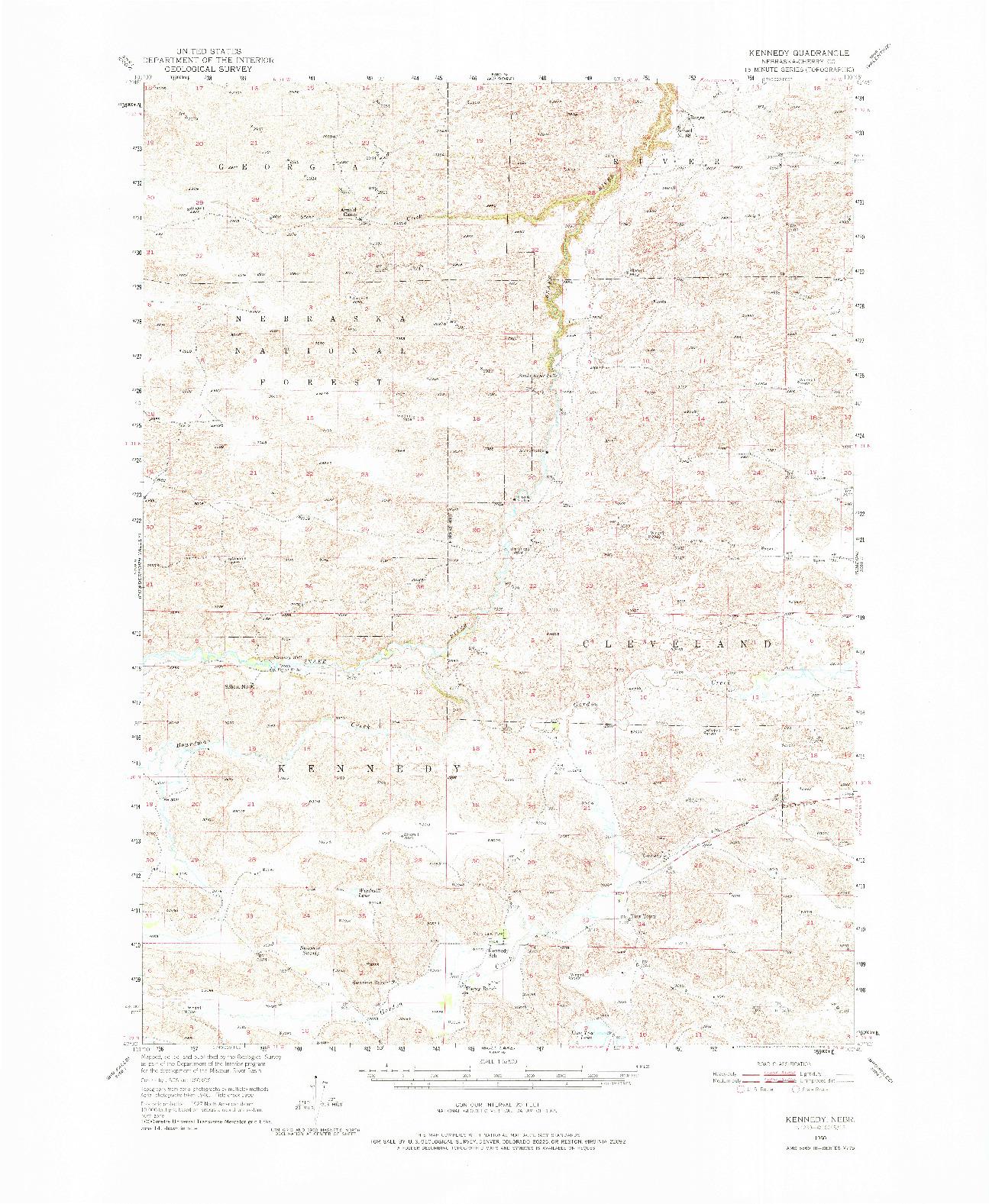 USGS 1:62500-SCALE QUADRANGLE FOR KENNEDY, NE 1950