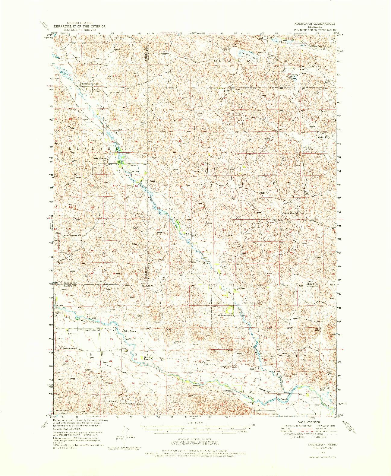 USGS 1:62500-SCALE QUADRANGLE FOR KOSHOPAH, NE 1949